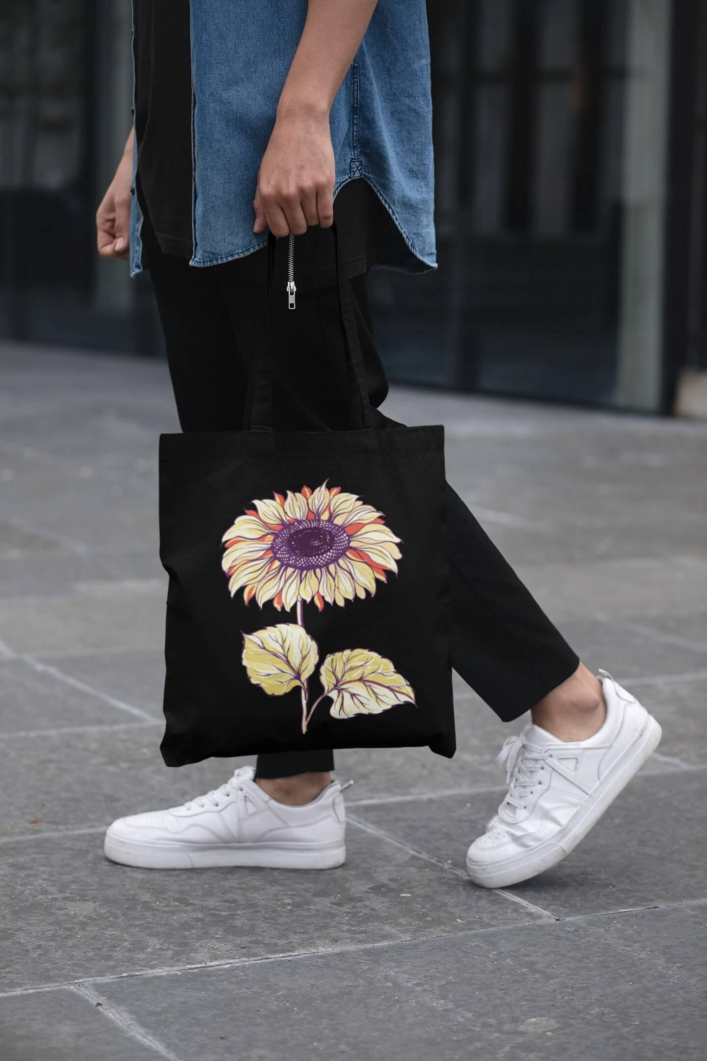 MMO Bavlnená taška Slnečnica Farba tašky: Čierna
