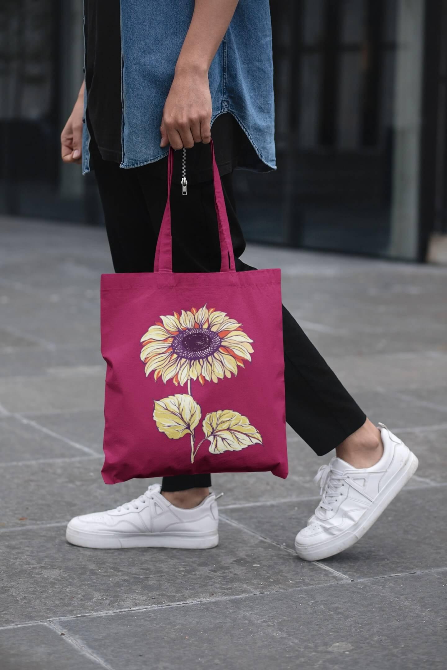 MMO Bavlnená taška Slnečnica Farba tašky: Malinová