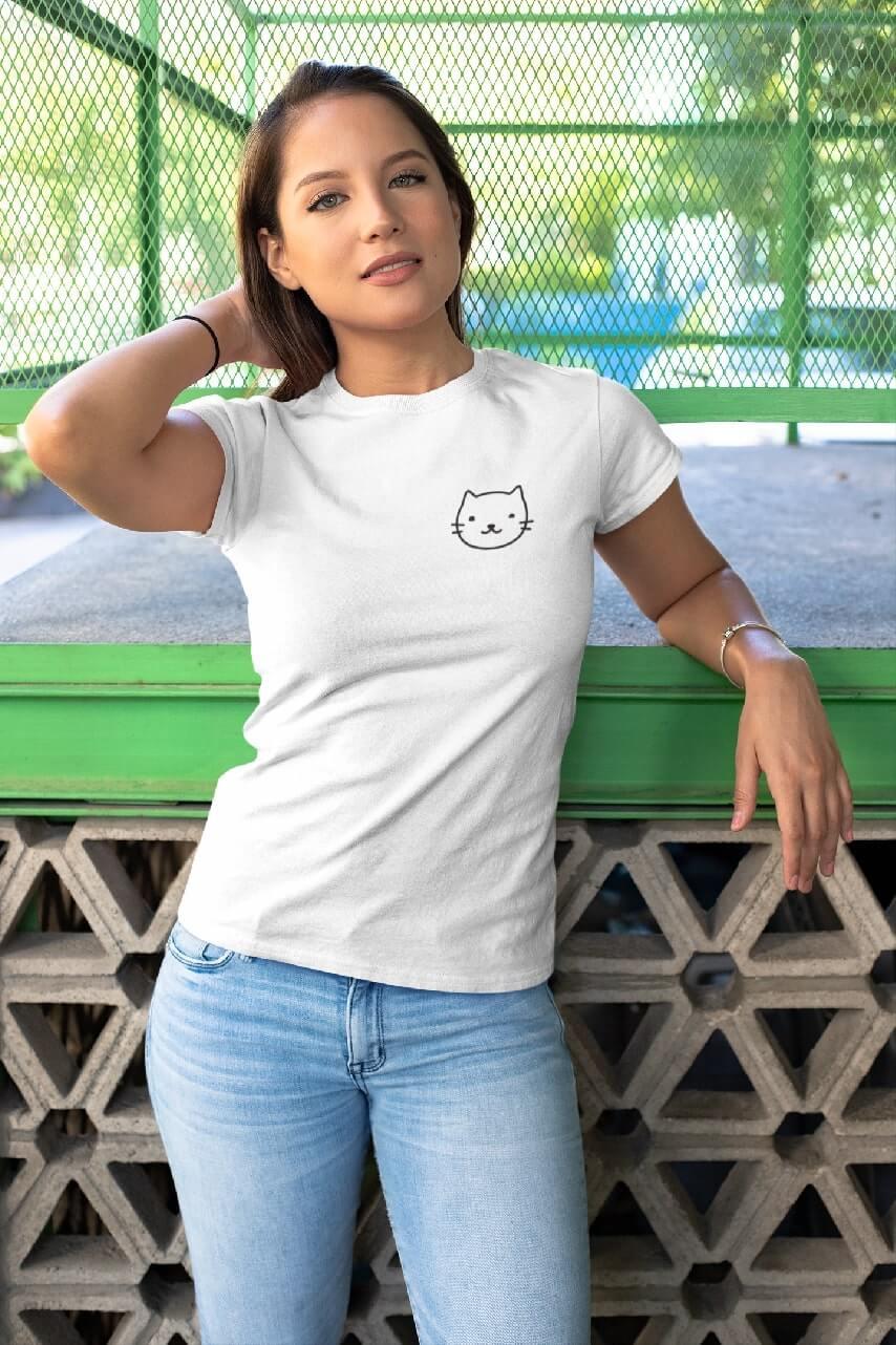MMO Dámske tričko Mačka Vyberte farbu: Biela, Dámska veľkosť: S