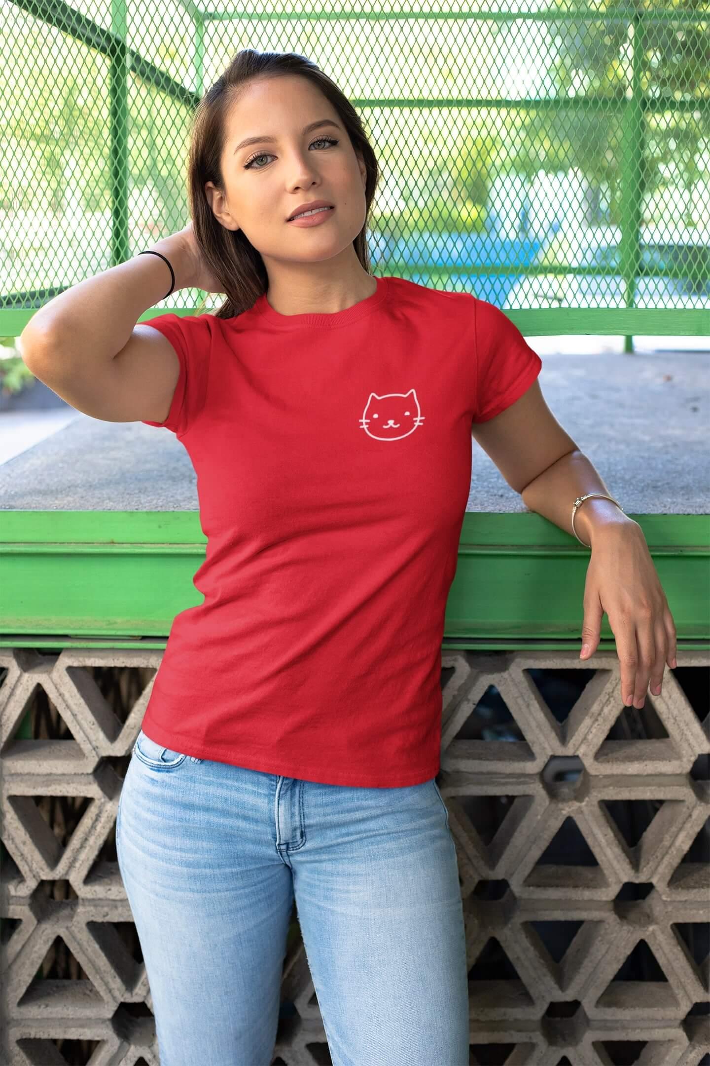 MMO Dámske tričko Mačka Vyberte farbu: Červená, Dámska veľkosť: S