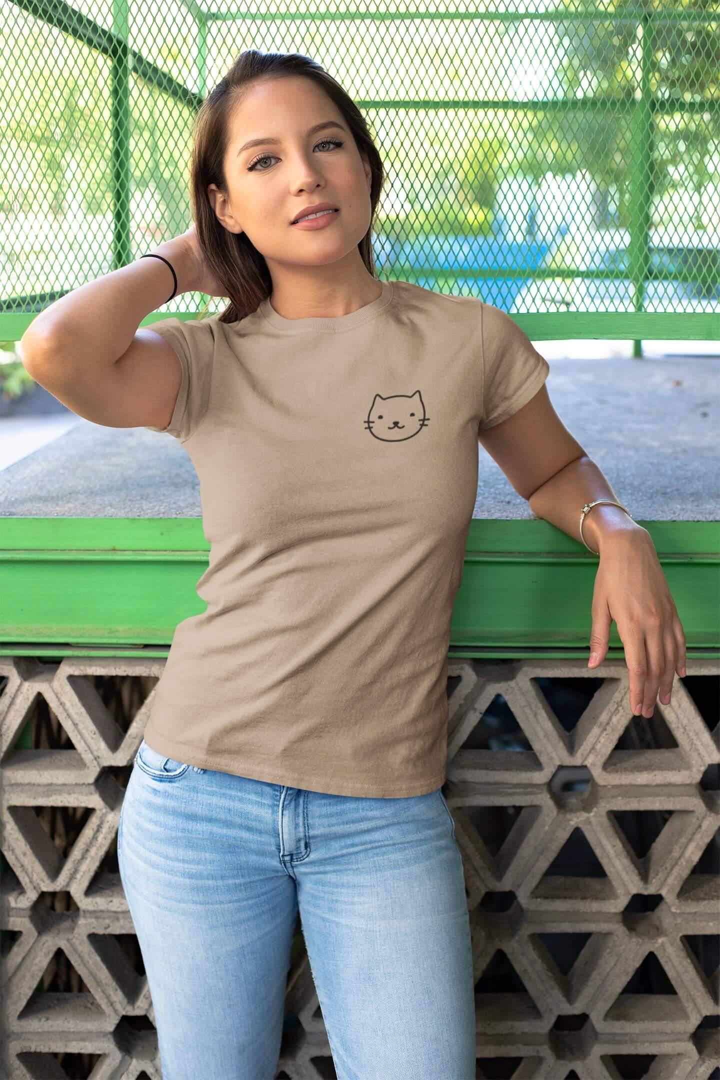 MMO Dámske tričko Mačka Vyberte farbu: Piesková, Dámska veľkosť: S