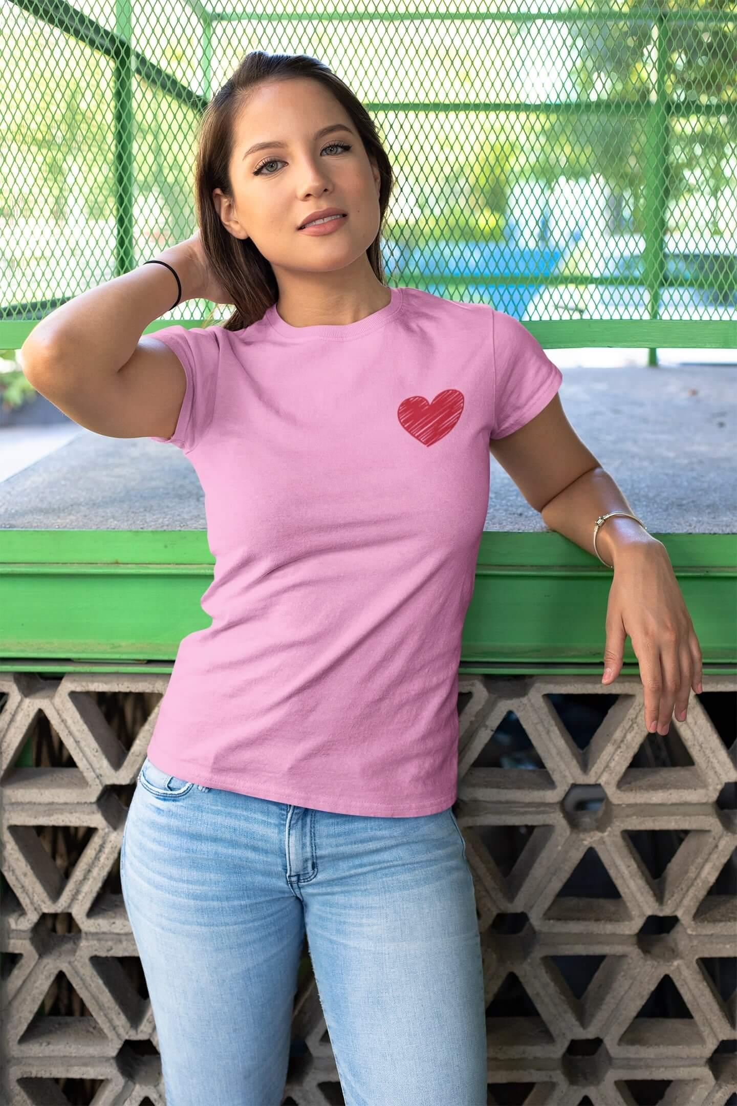 MMO Dámske tričko Červené srdce Vyberte farbu: Ružová, Dámska veľkosť: M