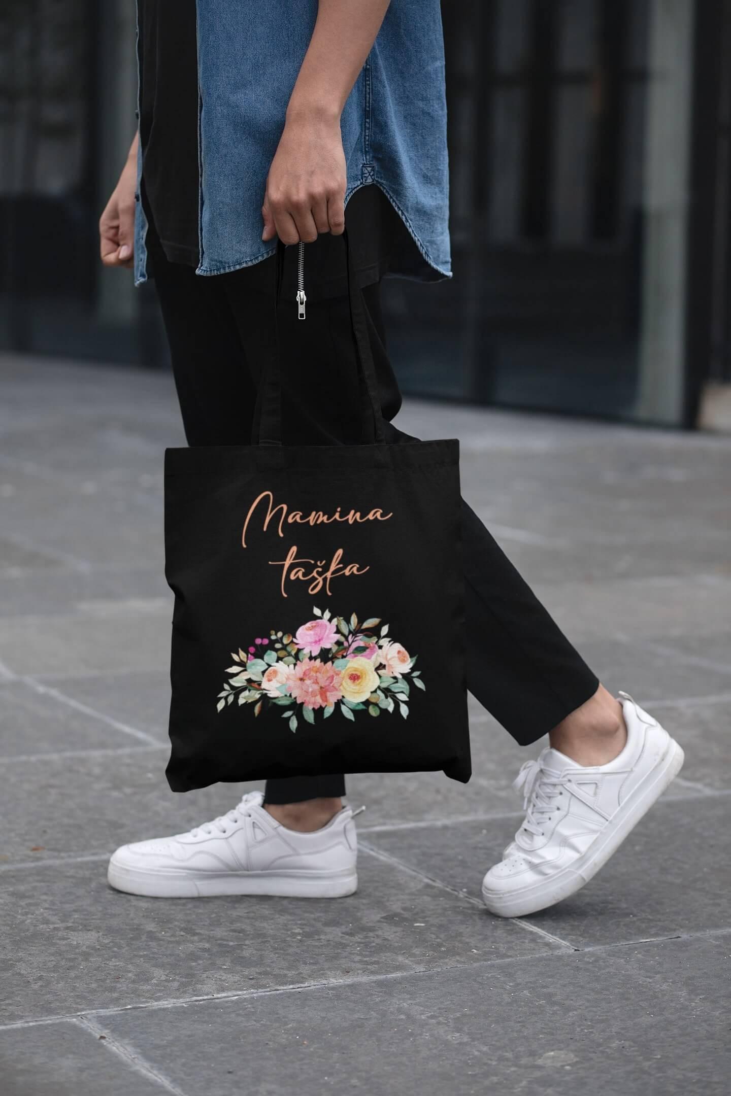MMO Bavlnená taška Mamina taška Farba tašky: Čierna