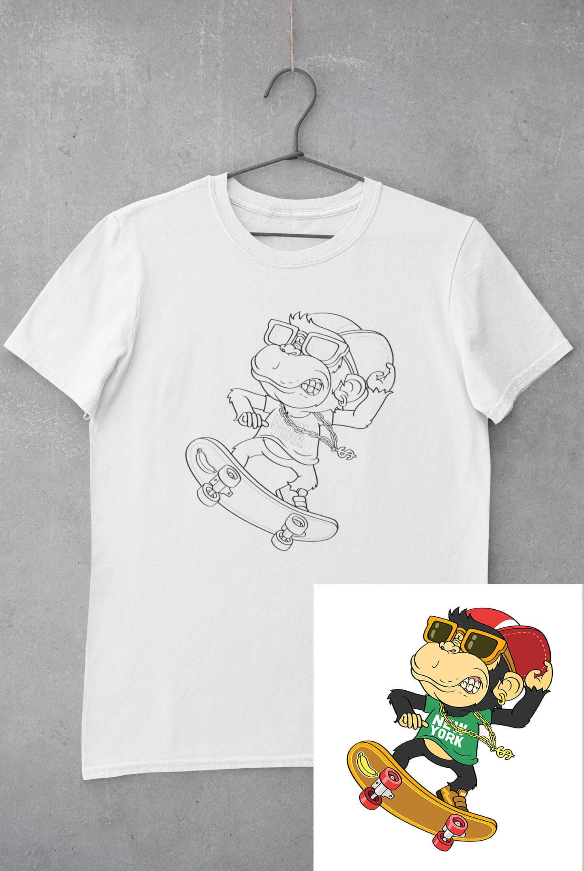 MMO Detské tričko vymaľuj si Opica na skateboarde Vyberte veľkosť: 110