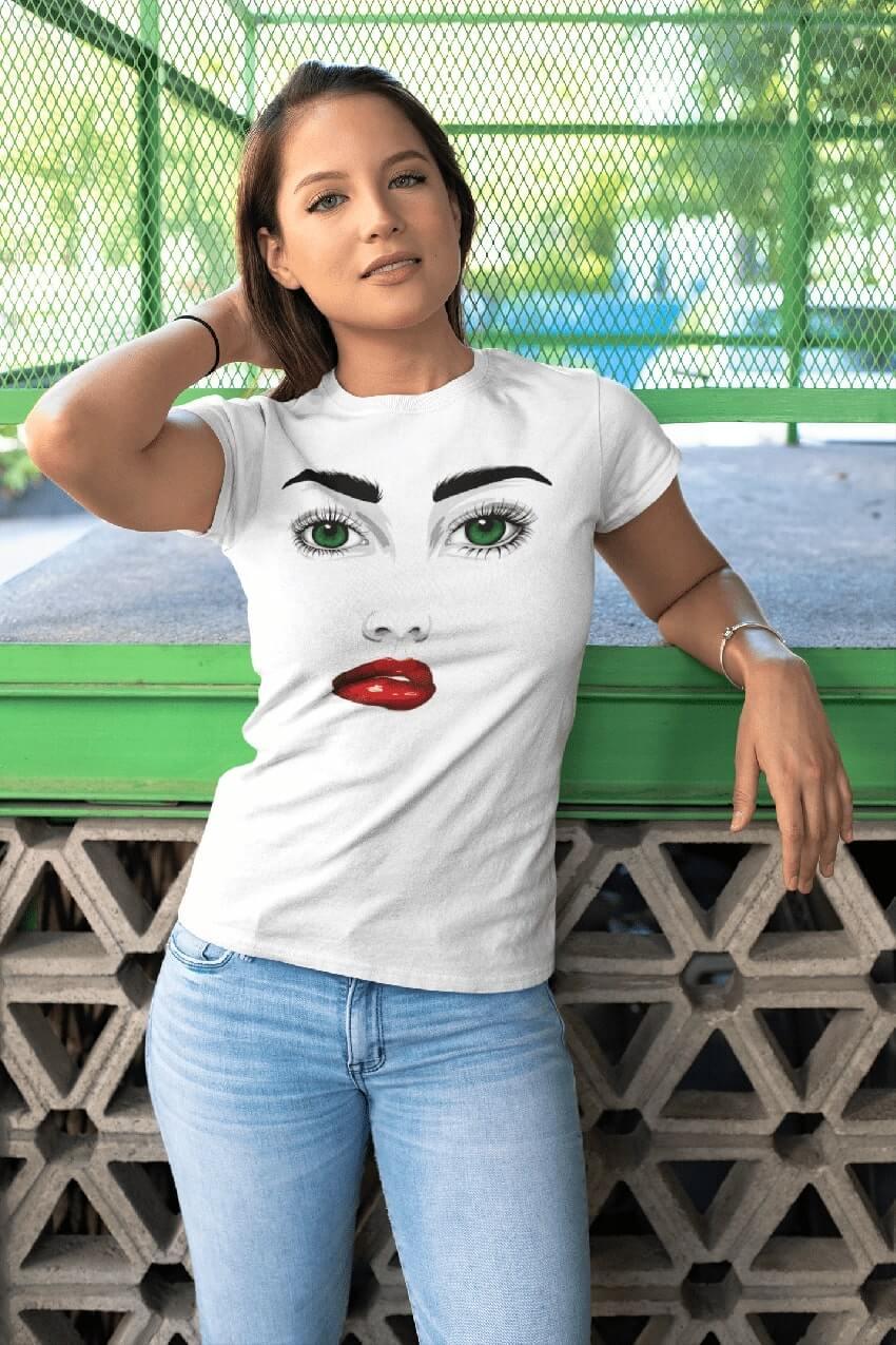MMO Dámske tričko Zelené oči Dámska veľkosť: S