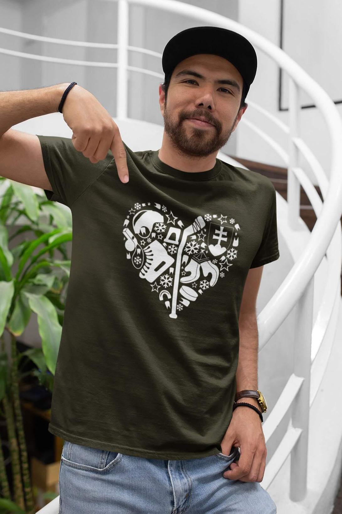 MMO Pánske tričko Hokej v srdci Vyberte farbu: Čierna, Vyberte veľkosť: L
