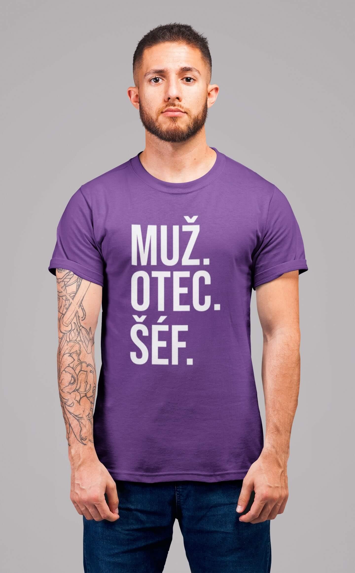 MMO Pánske tričko MUŽ Vyberte farbu: Fialová, Vyberte veľkosť: S
