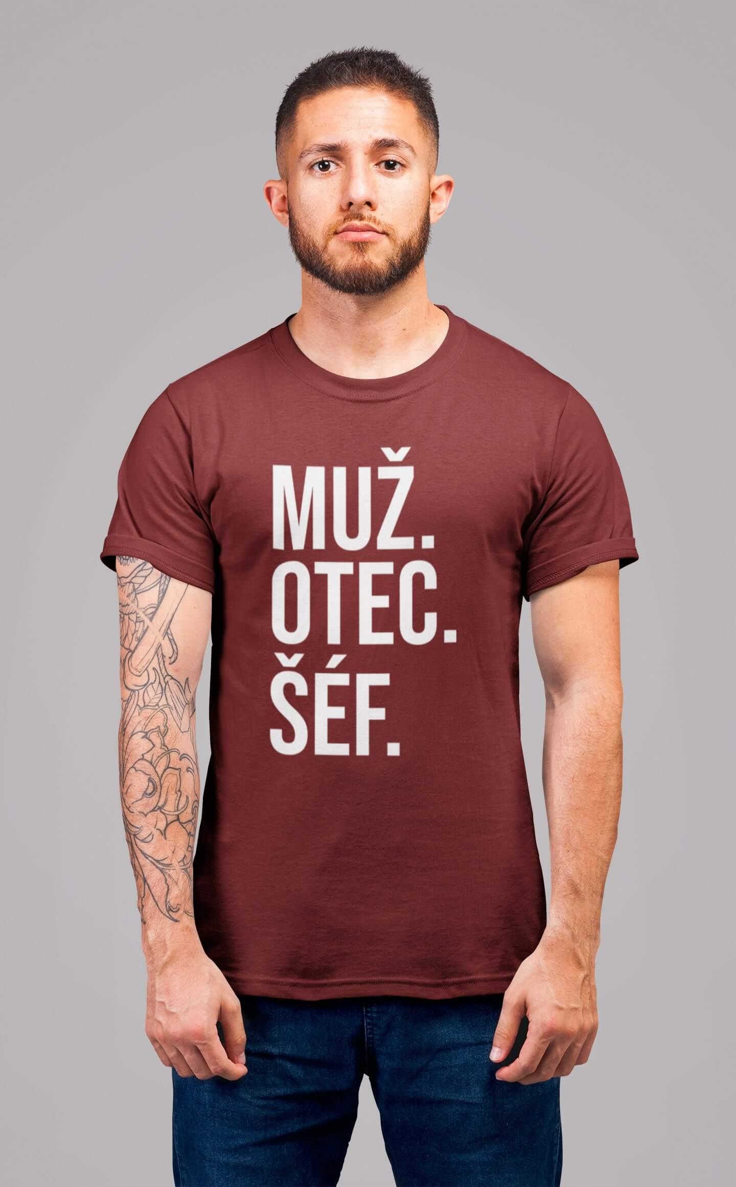 MMO Pánske tričko MUŽ Vyberte farbu: Bordová, Vyberte veľkosť: S