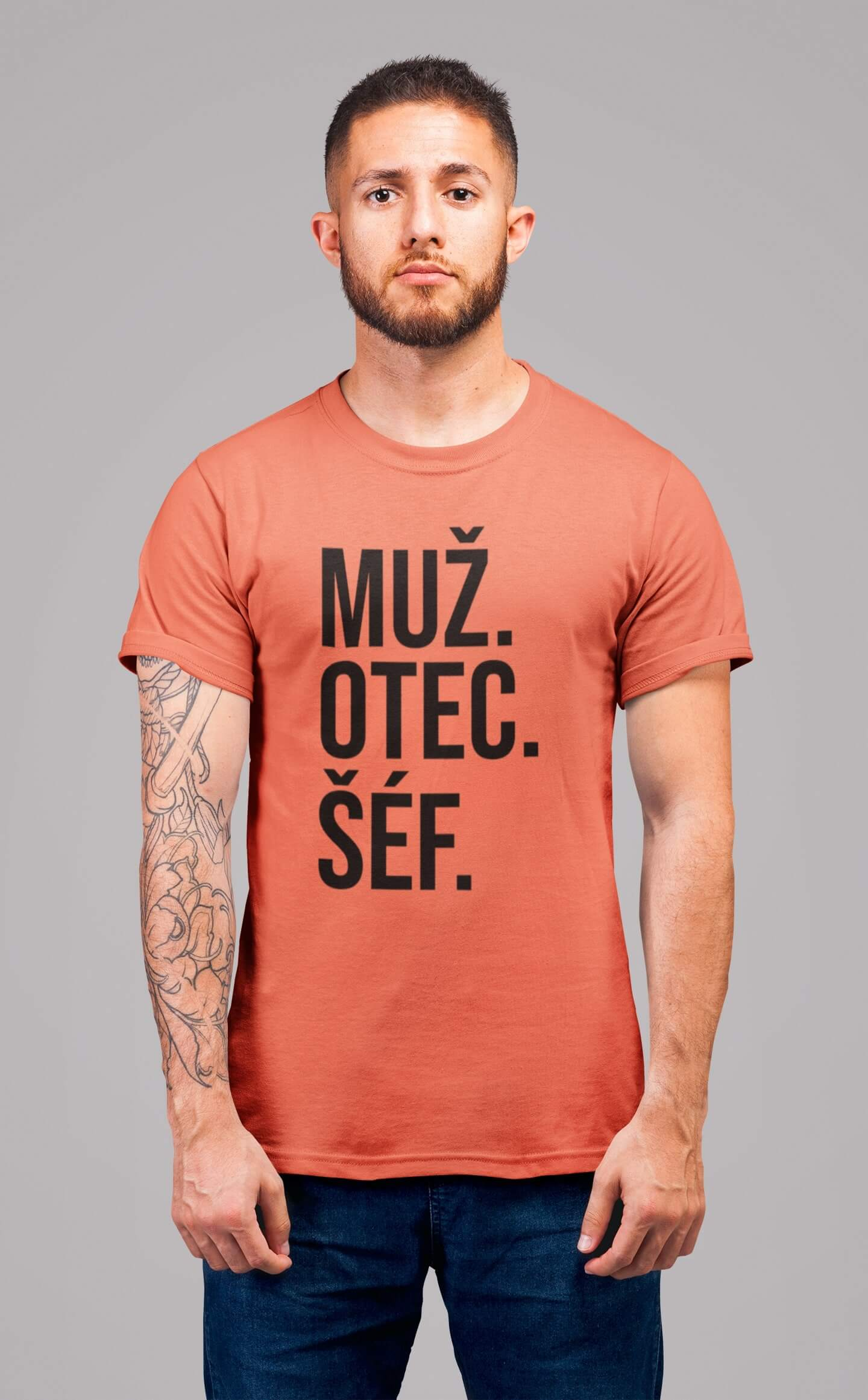 MMO Pánske tričko MUŽ Vyberte farbu: Korálová, Vyberte veľkosť: S
