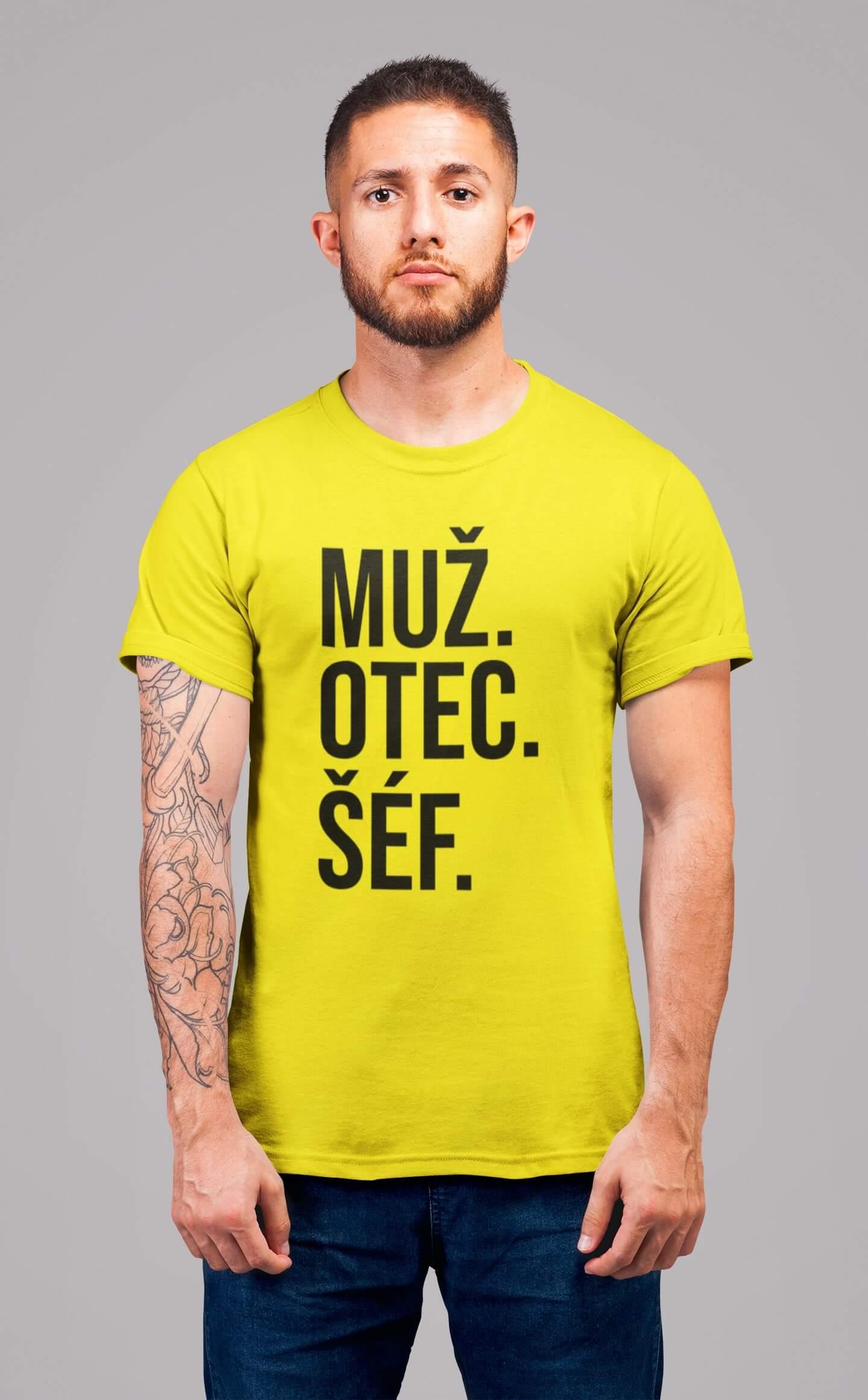 MMO Pánske tričko MUŽ Vyberte farbu: Citrónová, Vyberte veľkosť: S