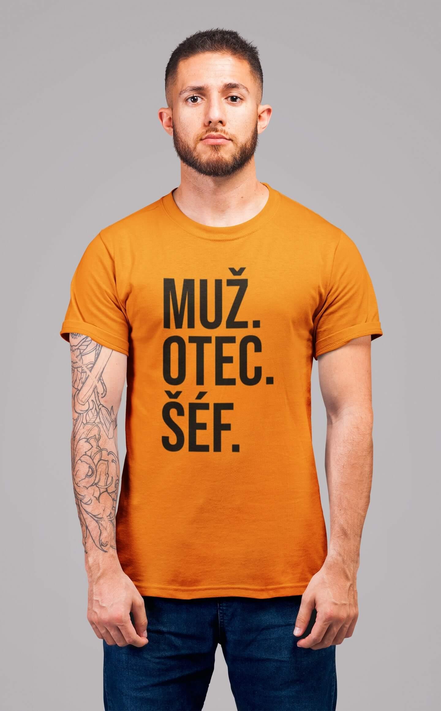MMO Pánske tričko MUŽ Vyberte farbu: Mandarínková oranžová, Vyberte veľkosť: S
