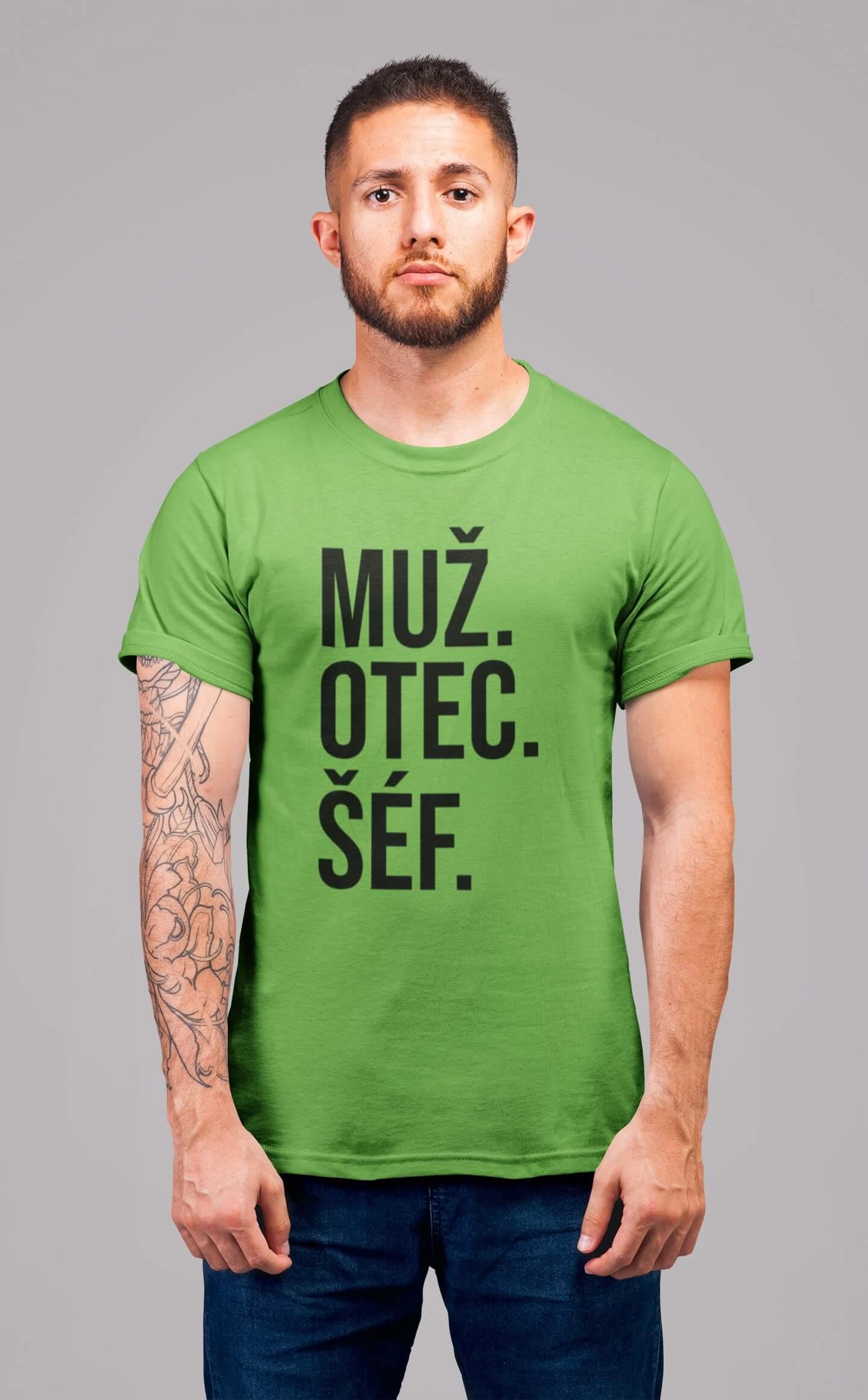 MMO Pánske tričko MUŽ Vyberte farbu: Hrášková zelená, Vyberte veľkosť: S
