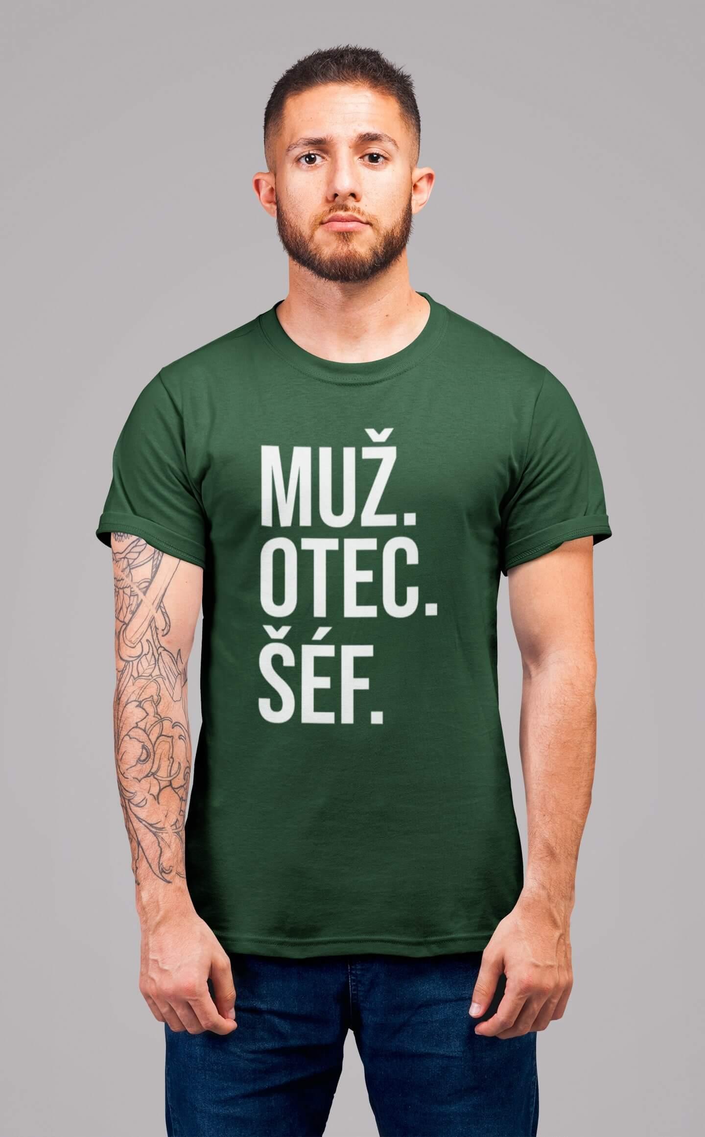 MMO Pánske tričko MUŽ Vyberte farbu: Fľaškovozelená, Vyberte veľkosť: S