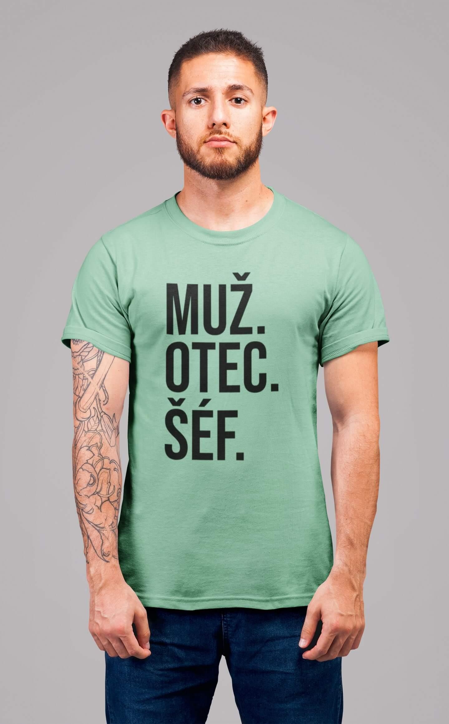 MMO Pánske tričko MUŽ Vyberte farbu: Mätová, Vyberte veľkosť: S