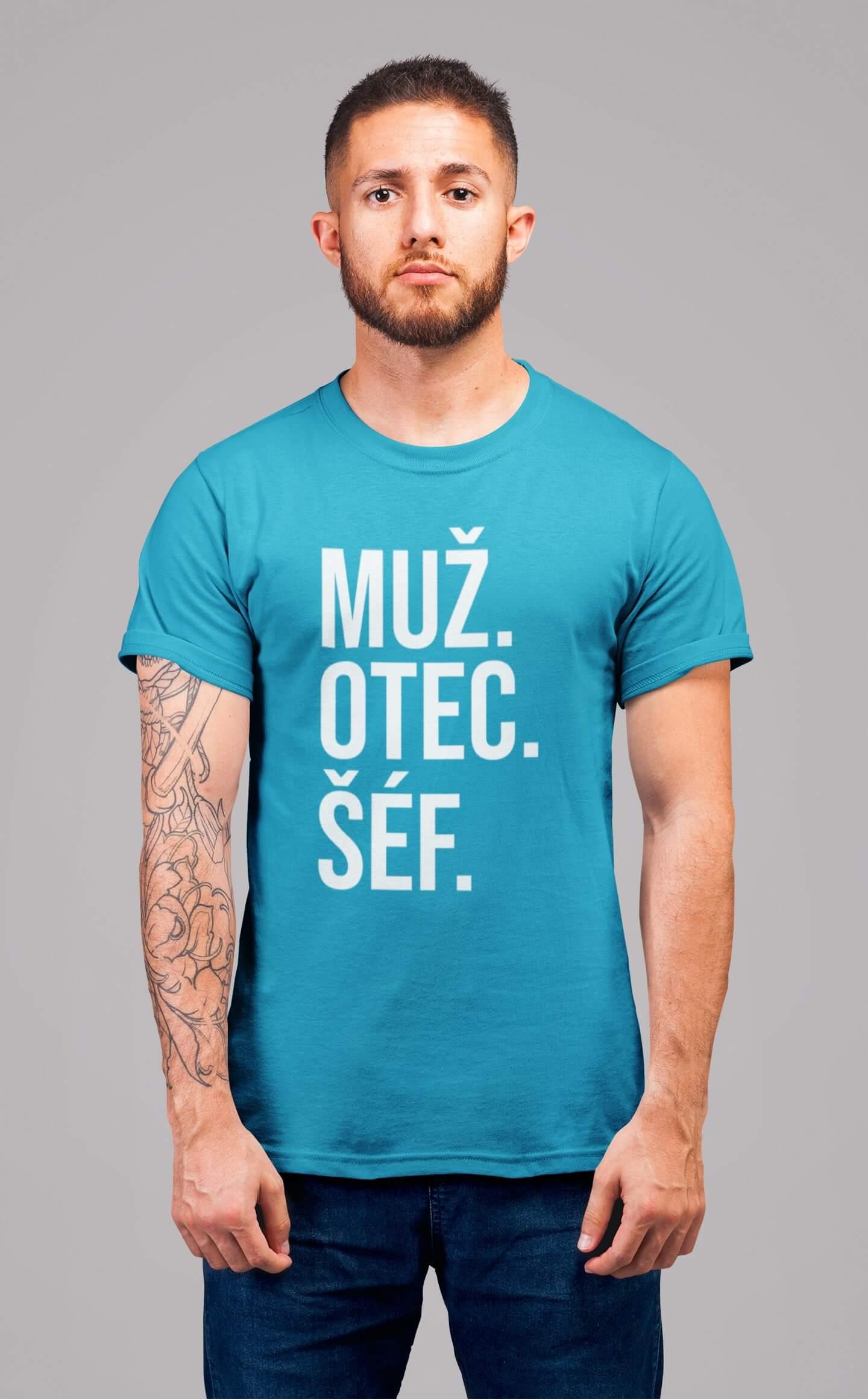 MMO Pánske tričko MUŽ Vyberte farbu: Tyrkysová, Vyberte veľkosť: S
