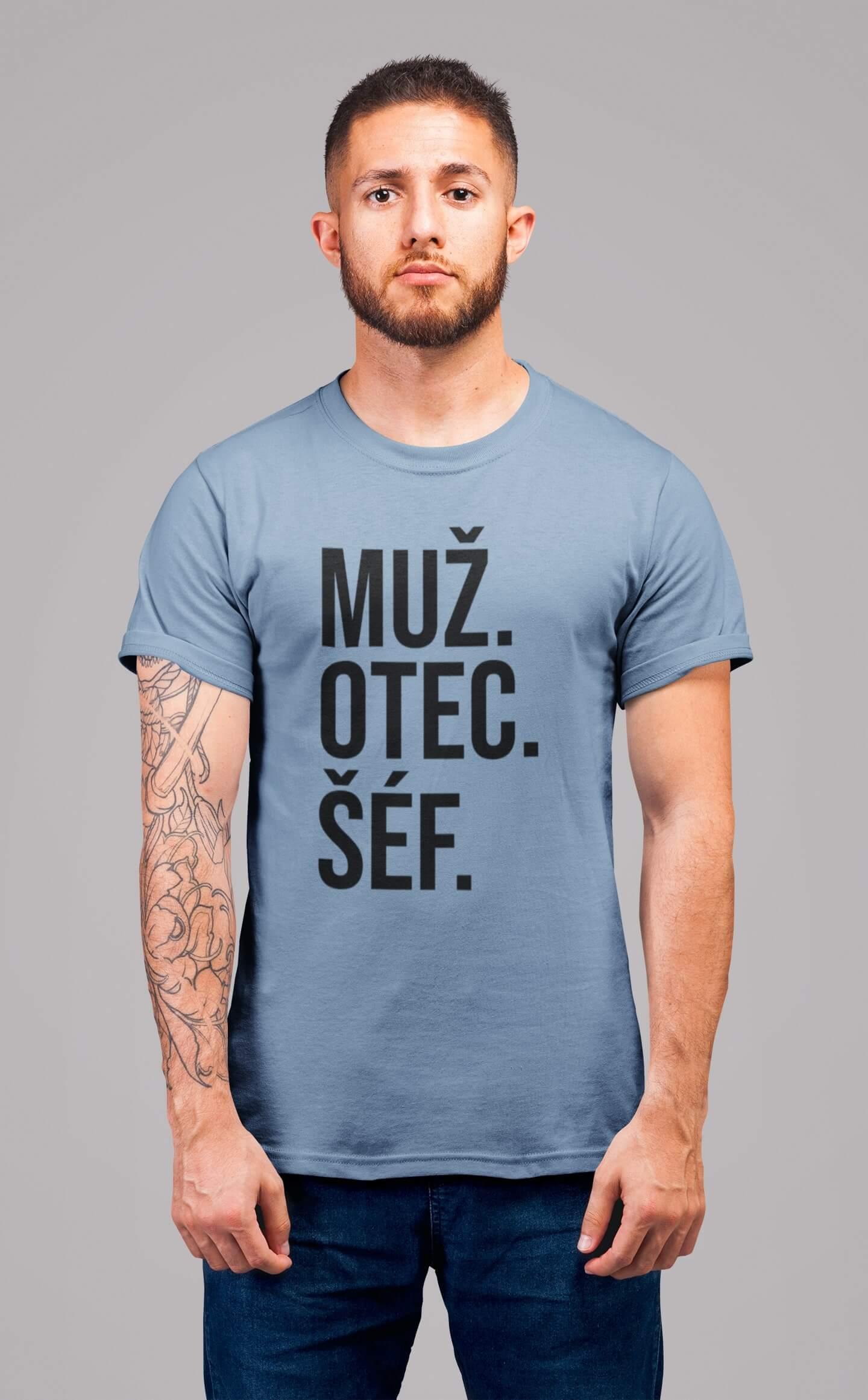 MMO Pánske tričko MUŽ Vyberte farbu: Nebeská modrá, Vyberte veľkosť: S