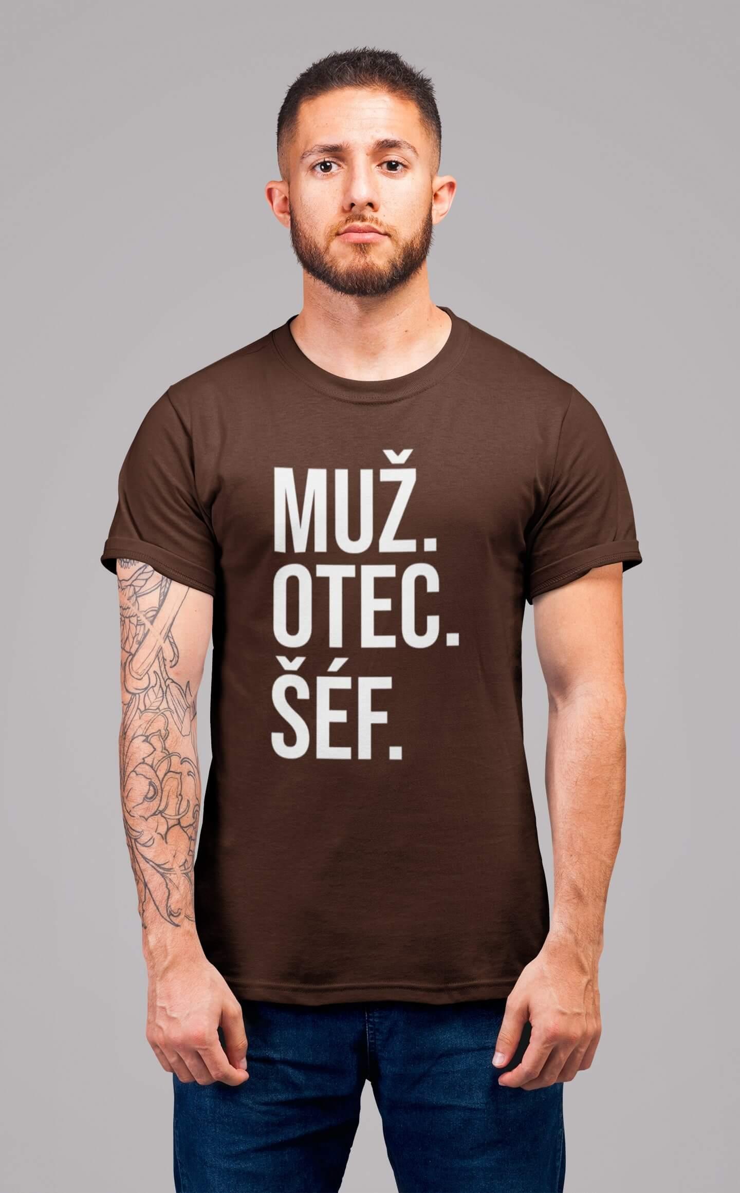 MMO Pánske tričko MUŽ Vyberte farbu: Čokoládová, Vyberte veľkosť: S