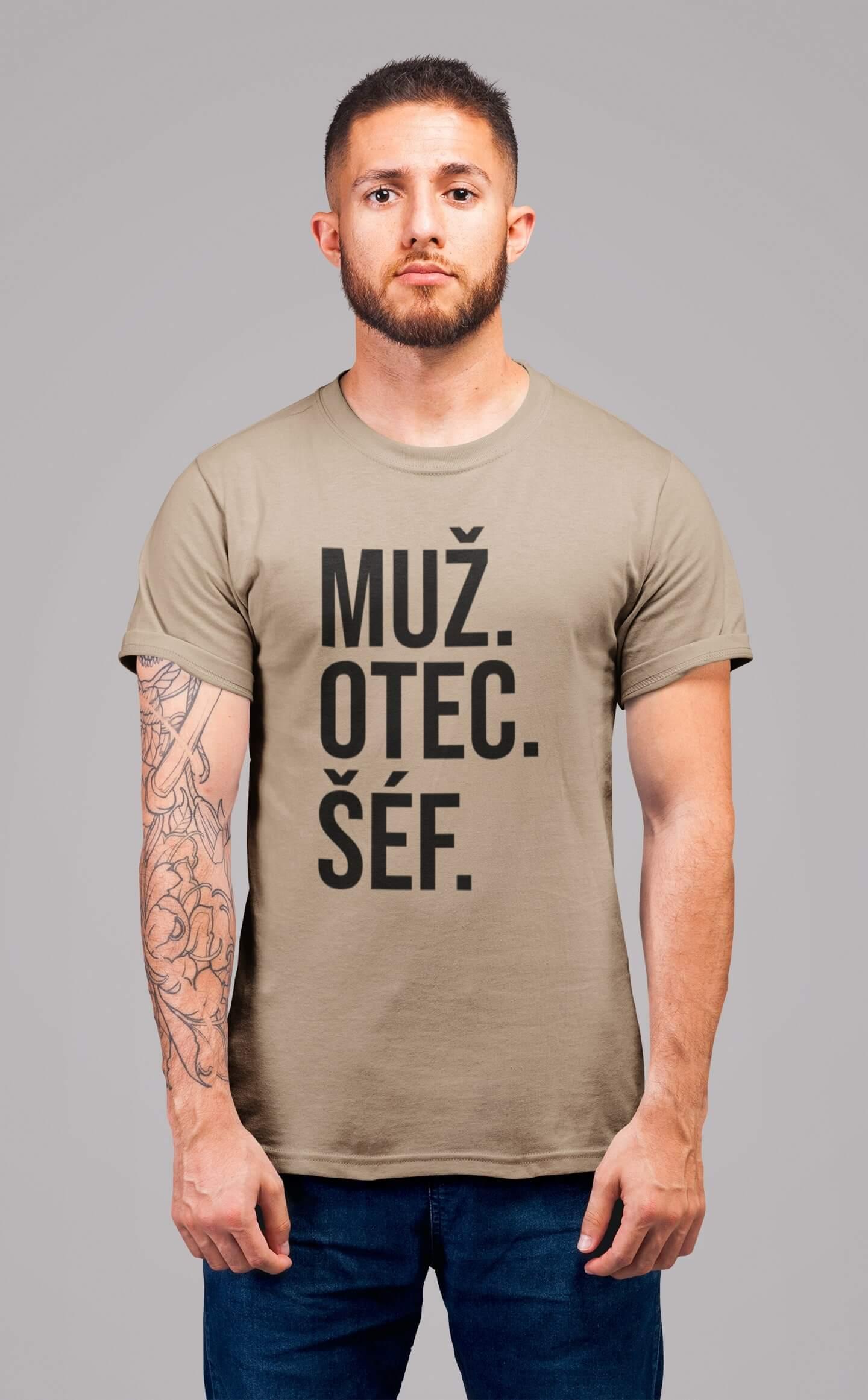 MMO Pánske tričko MUŽ Vyberte farbu: Piesková, Vyberte veľkosť: S