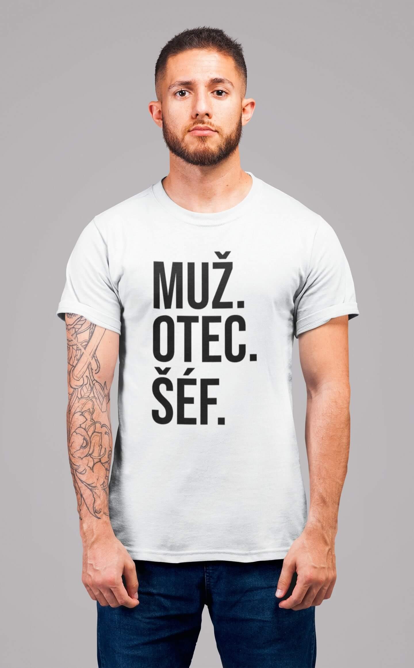 MMO Pánske tričko MUŽ Vyberte farbu: Biela, Vyberte veľkosť: S