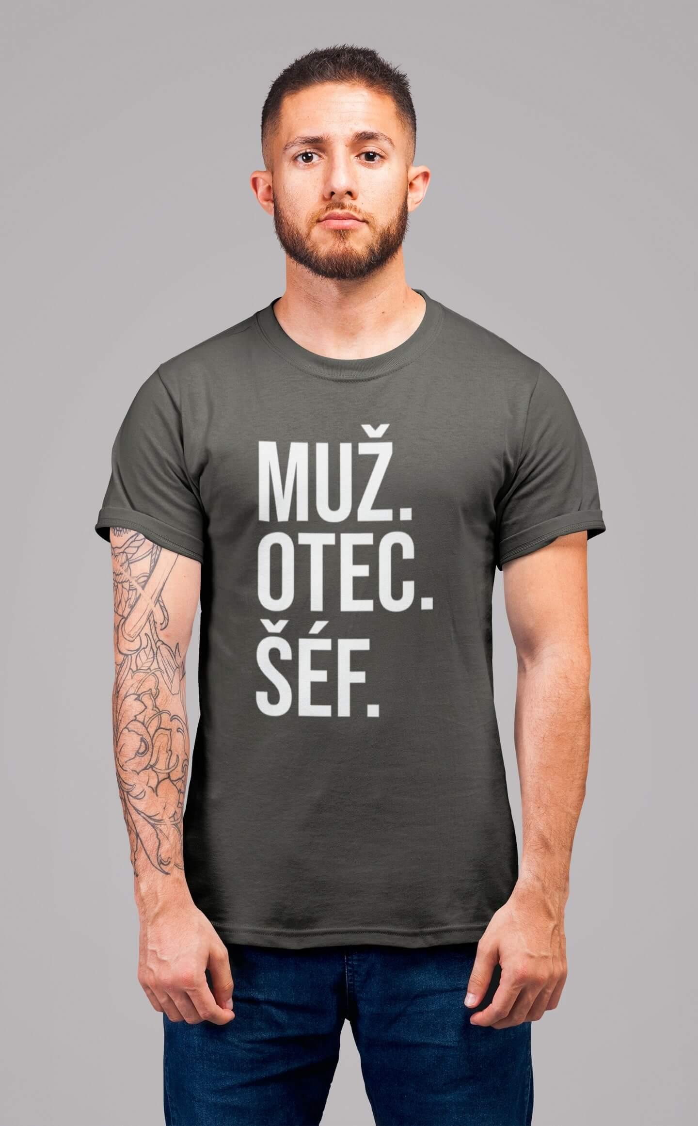 MMO Pánske tričko MUŽ Vyberte farbu: Tmavá bridlica, Vyberte veľkosť: S
