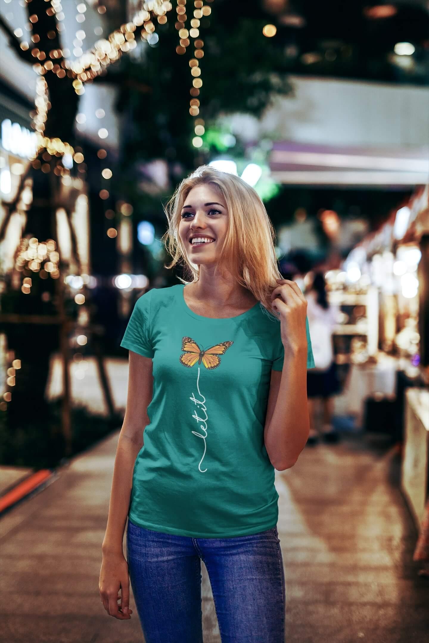 MMO Dámske tričko Let it motýľ Vyberte farbu: Smaragdovozelená, Vyberte veľkosť: S