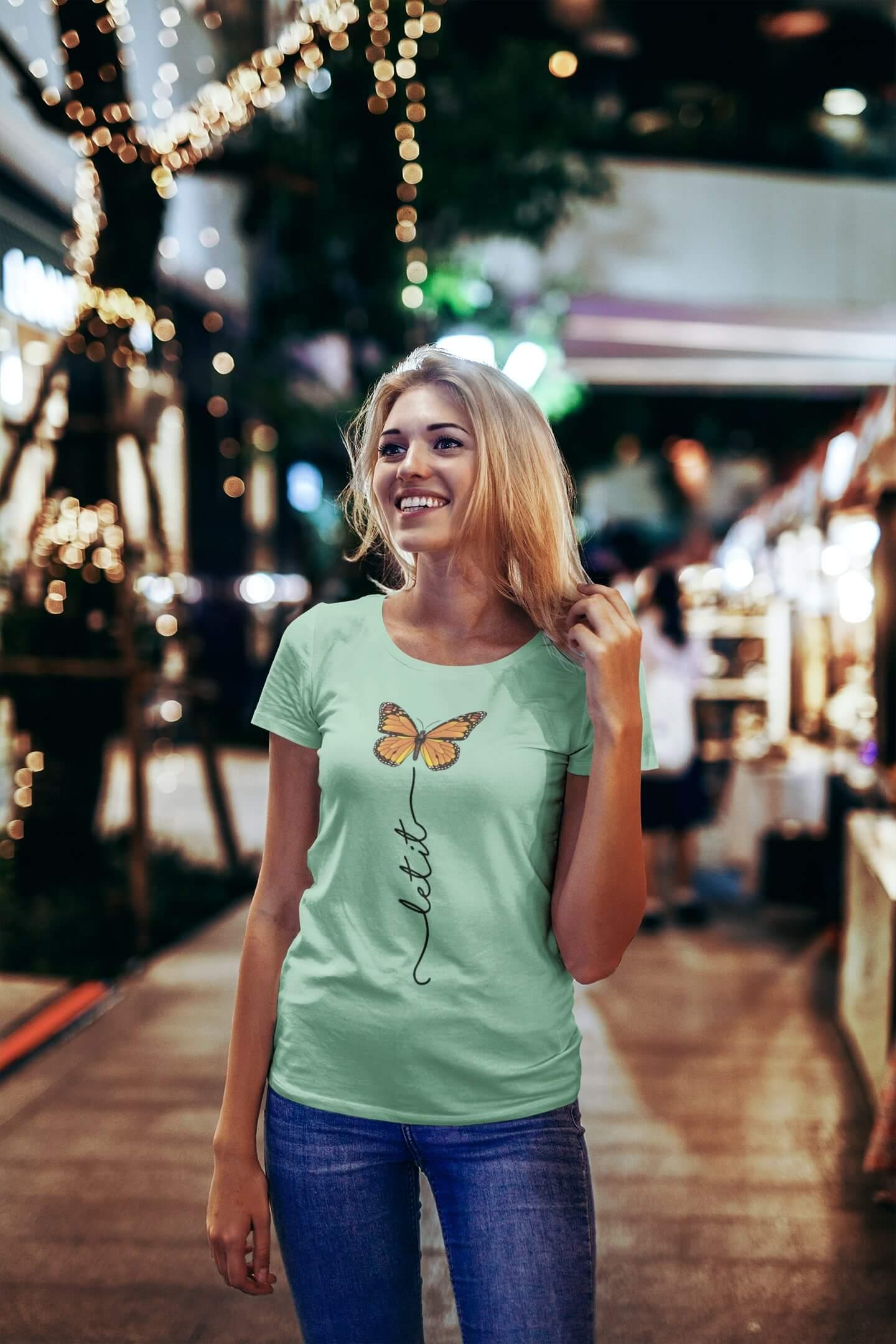 MMO Dámske tričko Let it motýľ Vyberte farbu: Mätová, Vyberte veľkosť: S
