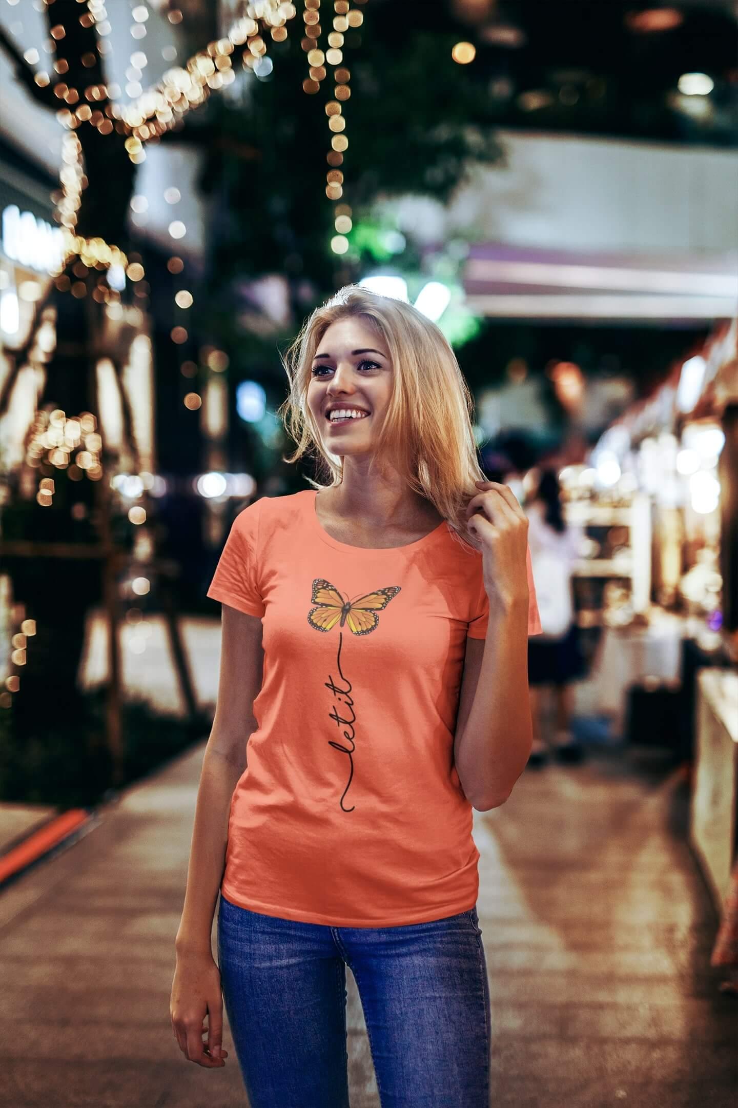 MMO Dámske tričko Let it motýľ Vyberte farbu: Korálová, Vyberte veľkosť: S