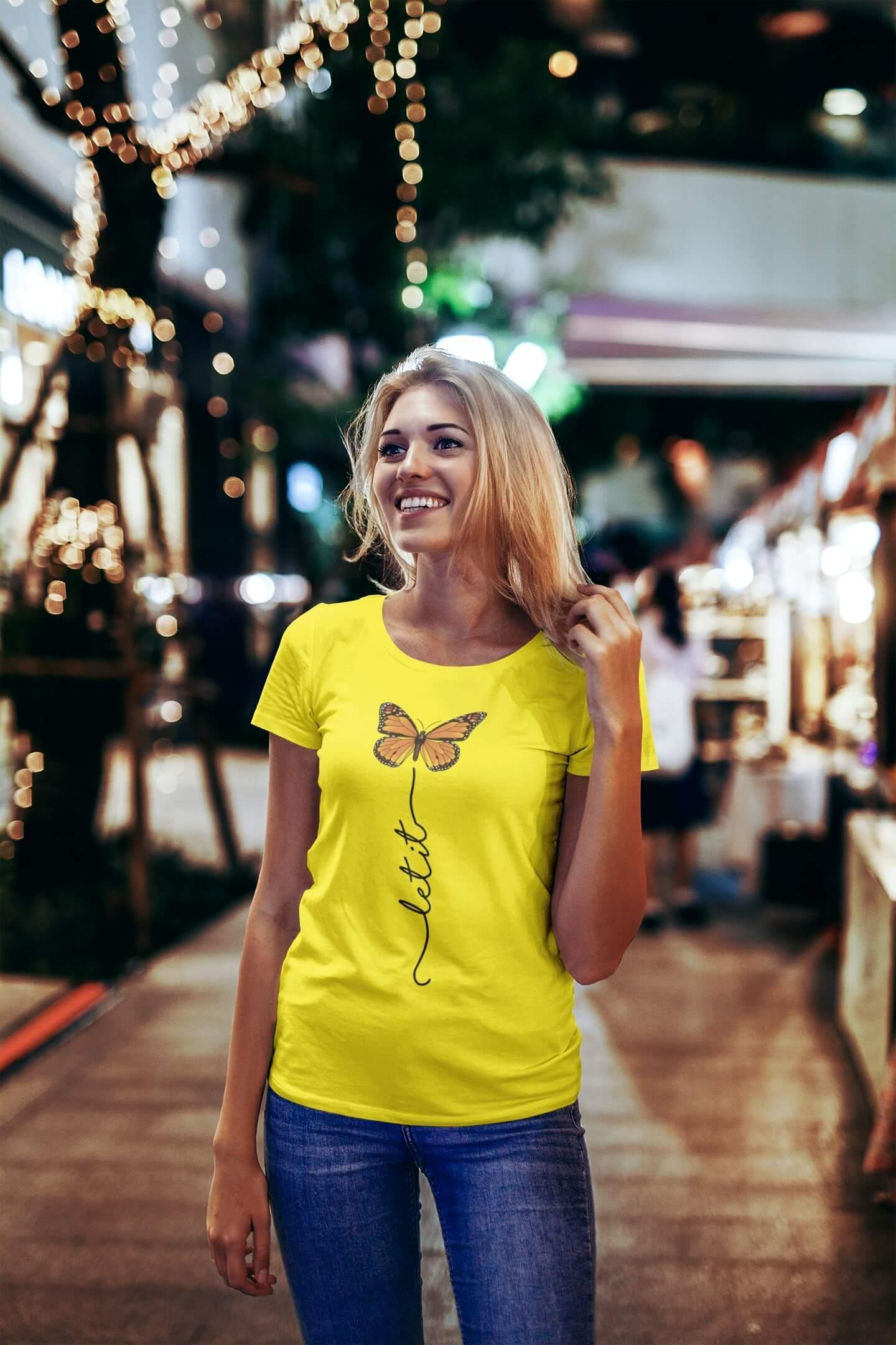 MMO Dámske tričko Let it motýľ Vyberte farbu: Citrónová, Vyberte veľkosť: S