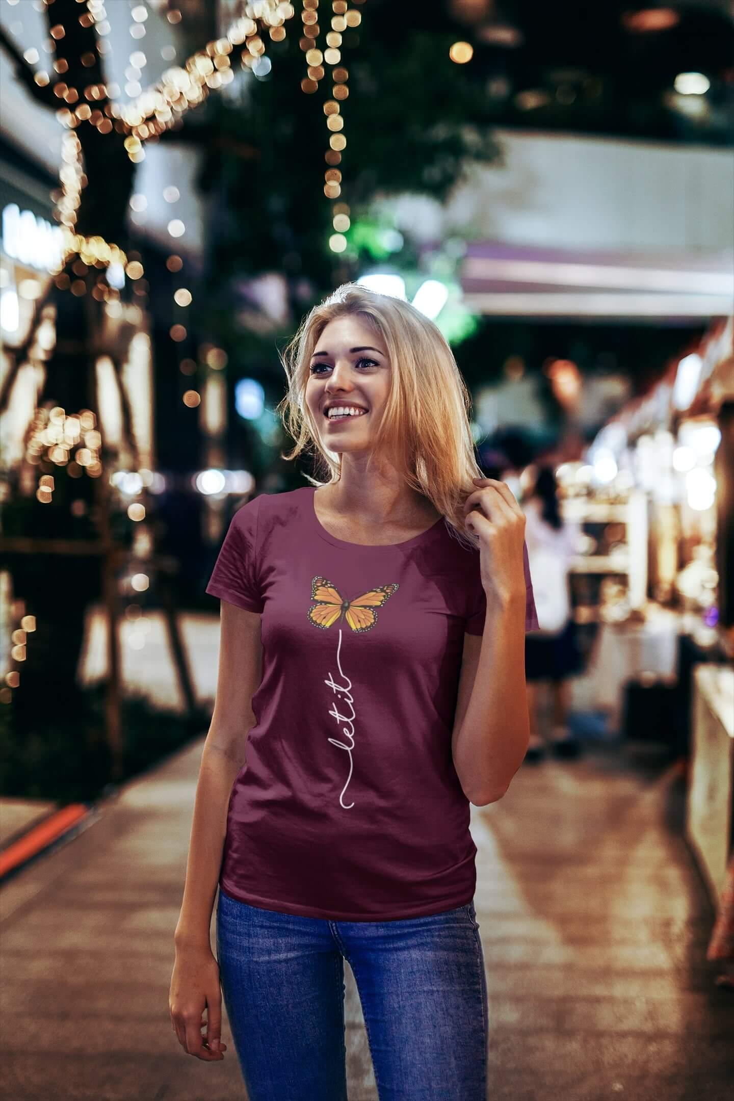 MMO Dámske tričko Let it motýľ Vyberte farbu: Fuchsiová, Vyberte veľkosť: S
