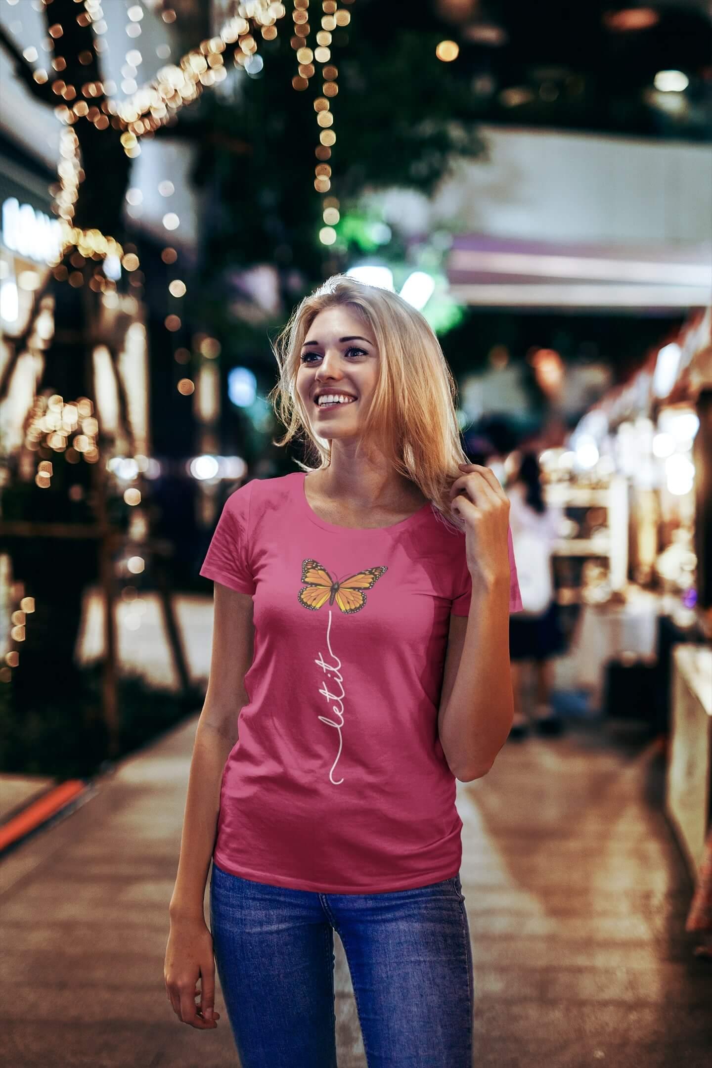 MMO Dámske tričko Let it motýľ Vyberte farbu: Purpurová, Vyberte veľkosť: S