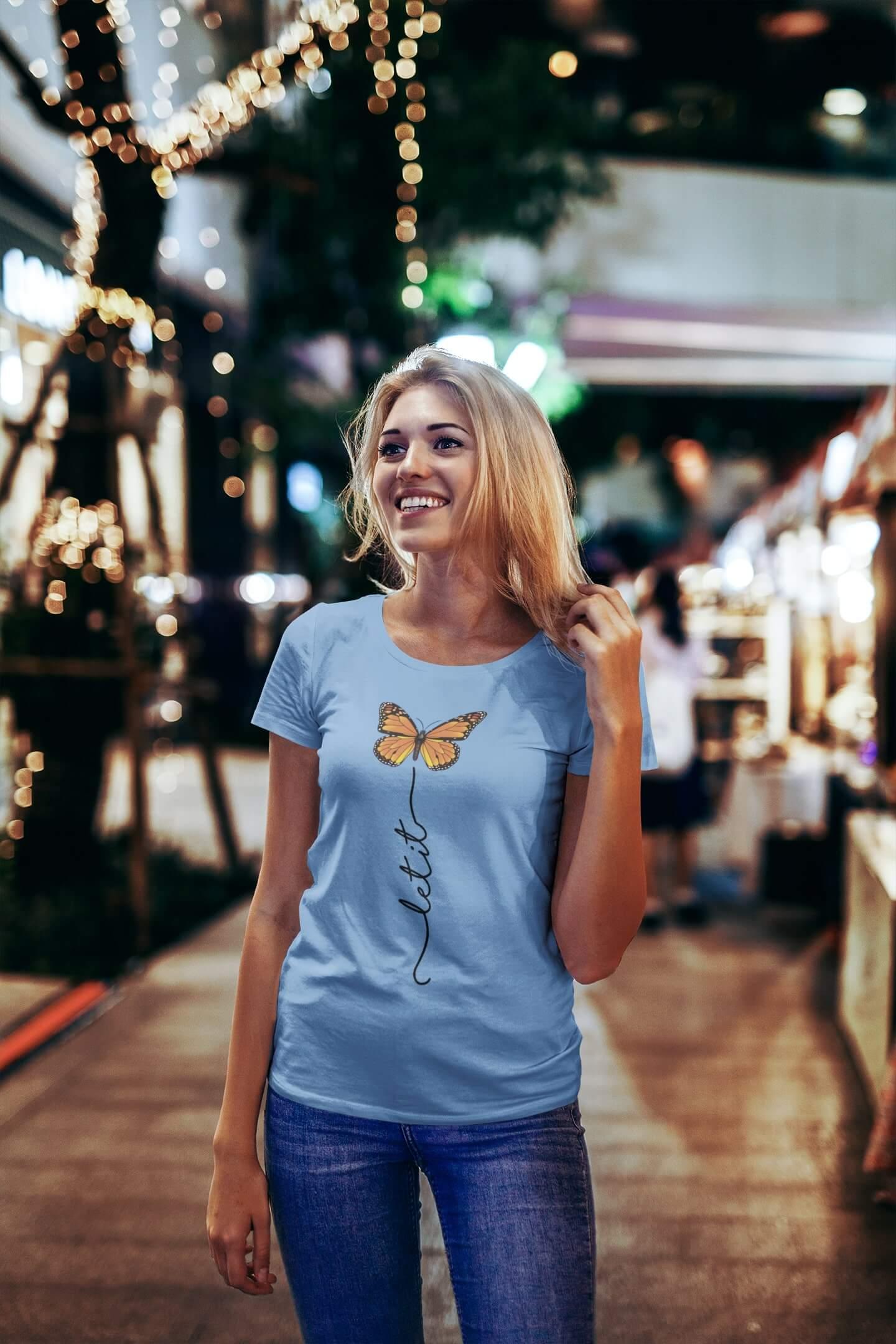 MMO Dámske tričko Let it motýľ Vyberte farbu: Svetlomodrá, Vyberte veľkosť: S
