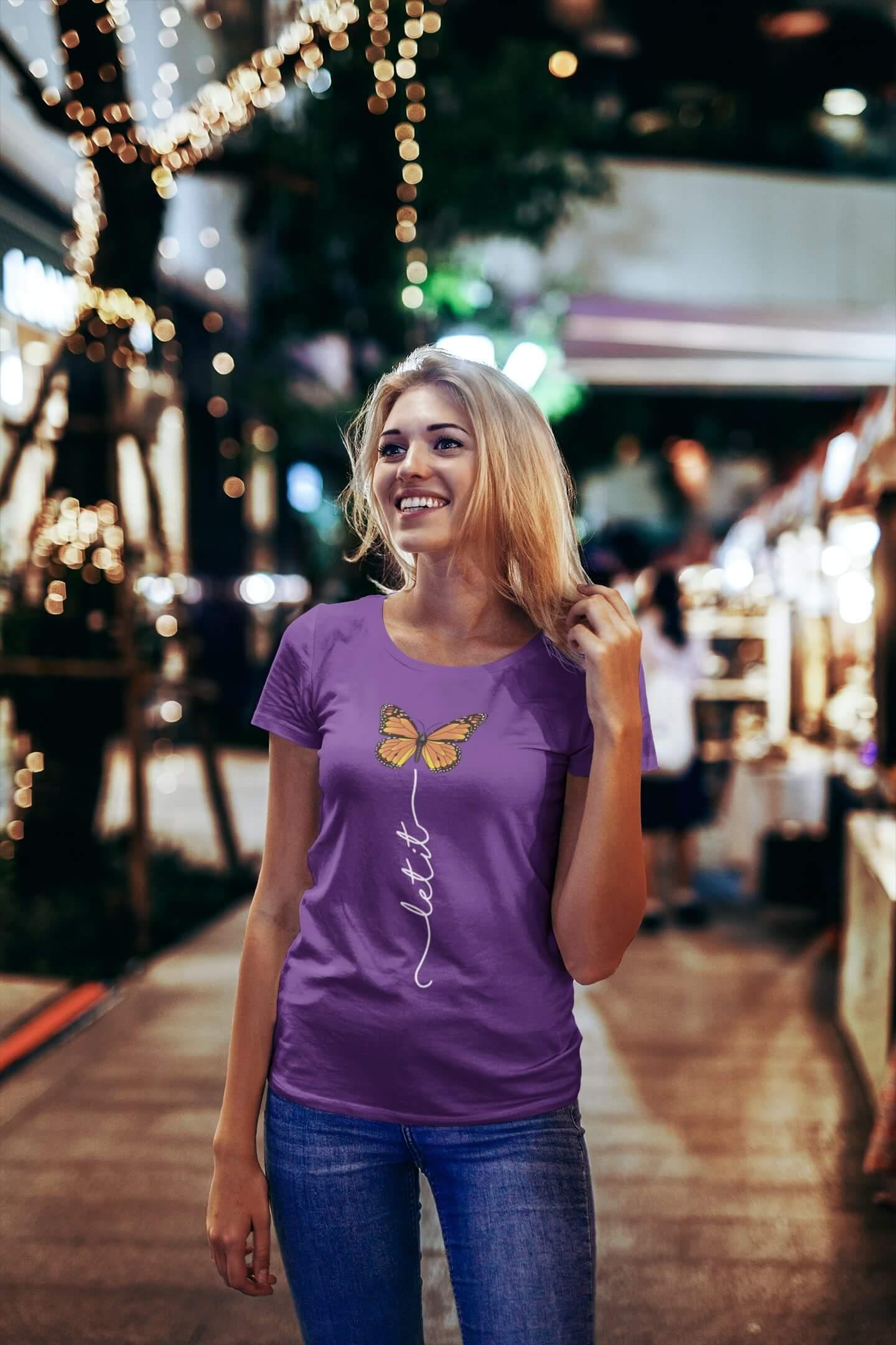 MMO Dámske tričko Let it motýľ Vyberte farbu: Fialová, Vyberte veľkosť: S