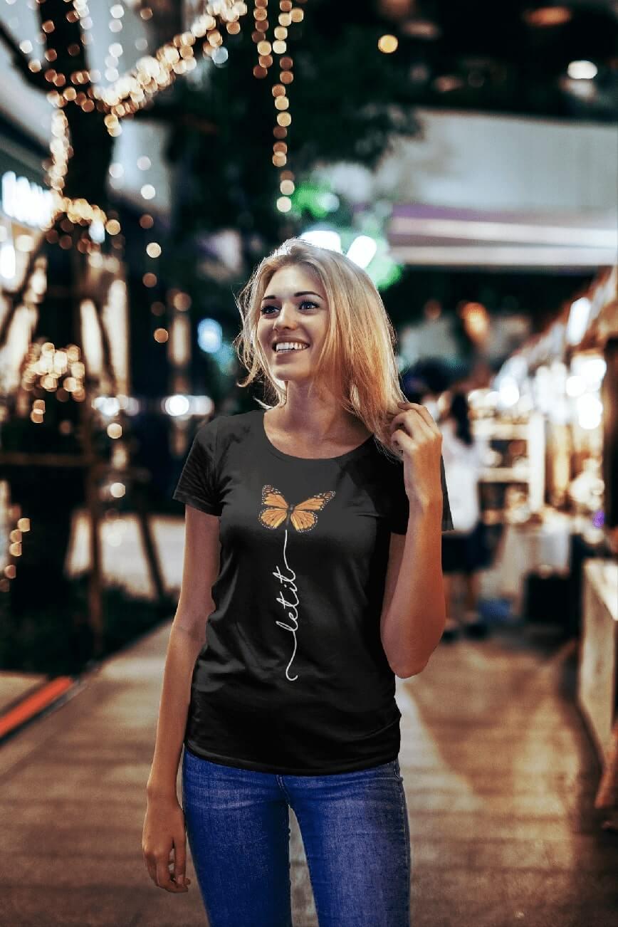MMO Dámske tričko Let it motýľ Vyberte farbu: Čierna, Vyberte veľkosť: S