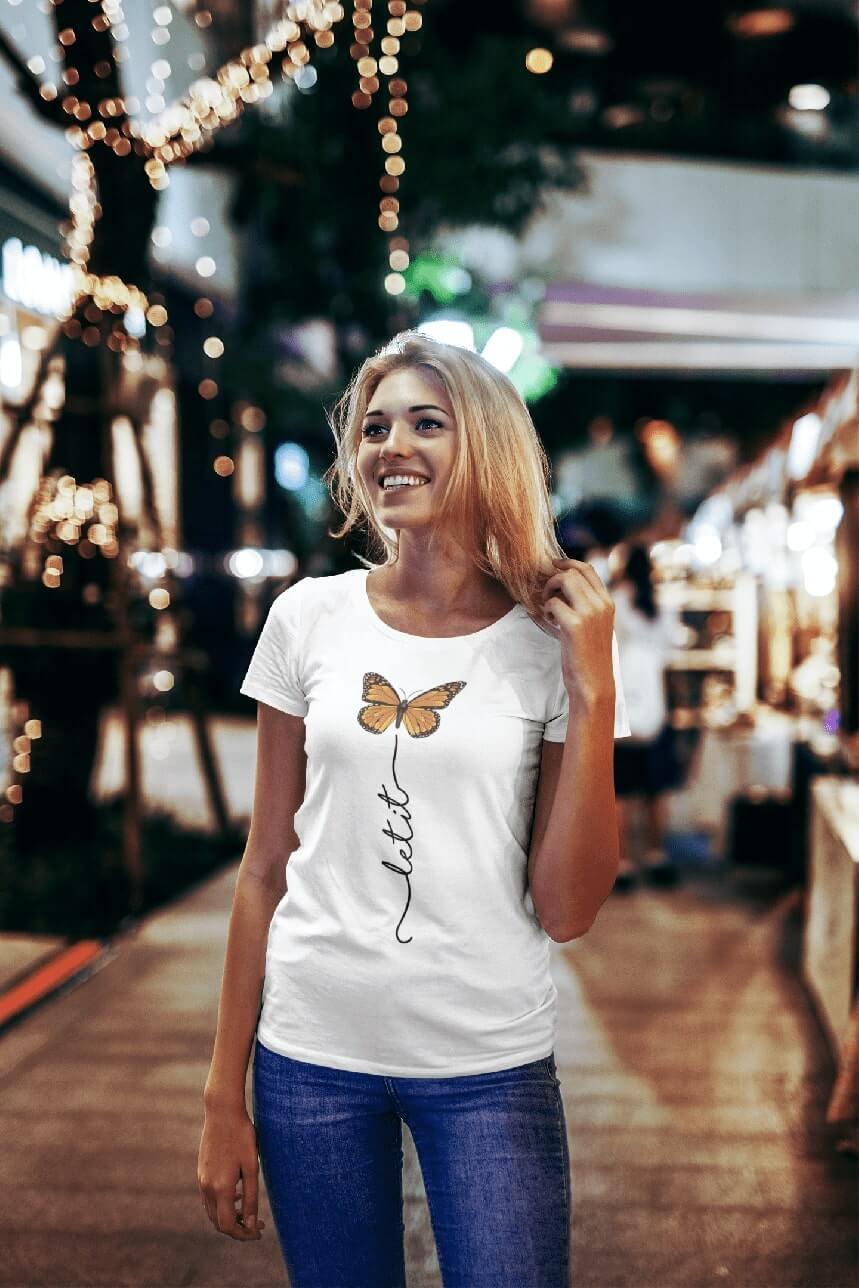 MMO Dámske tričko Let it motýľ Vyberte farbu: Biela, Vyberte veľkosť: S