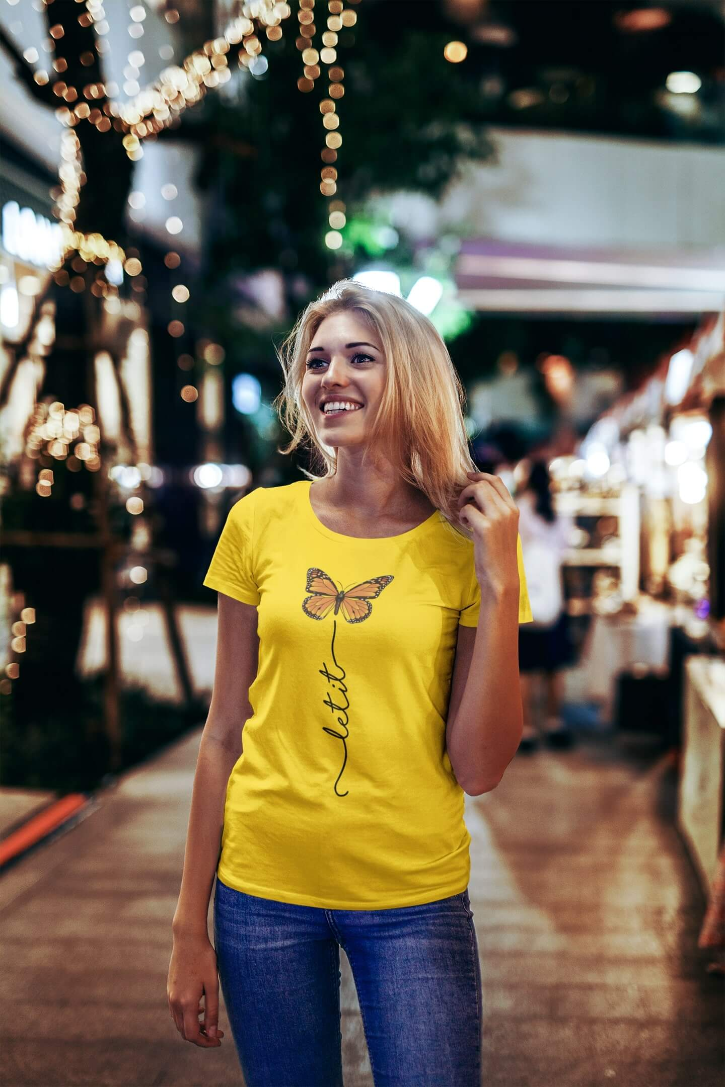 MMO Dámske tričko Let it motýľ Vyberte farbu: Žltá, Vyberte veľkosť: S