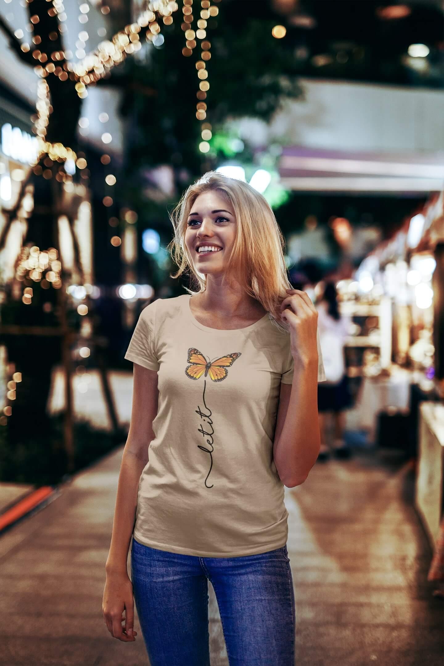 MMO Dámske tričko Let it motýľ Vyberte farbu: Piesková, Vyberte veľkosť: S
