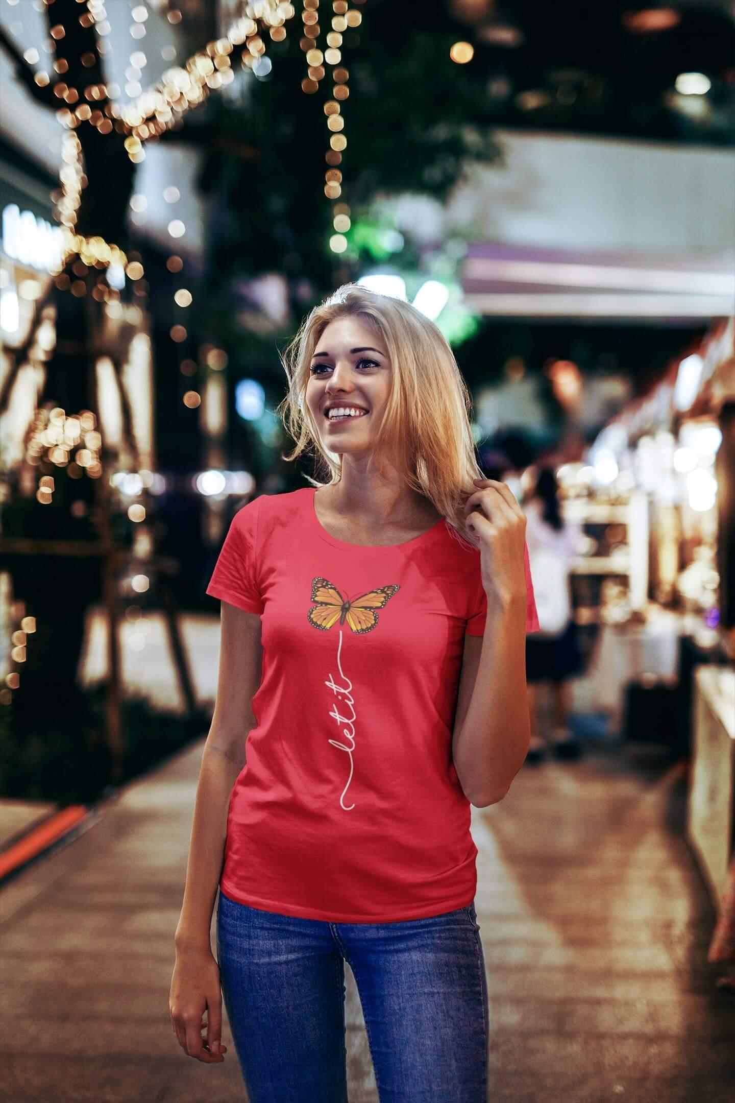 MMO Dámske tričko Let it motýľ Vyberte farbu: Červená, Vyberte veľkosť: S