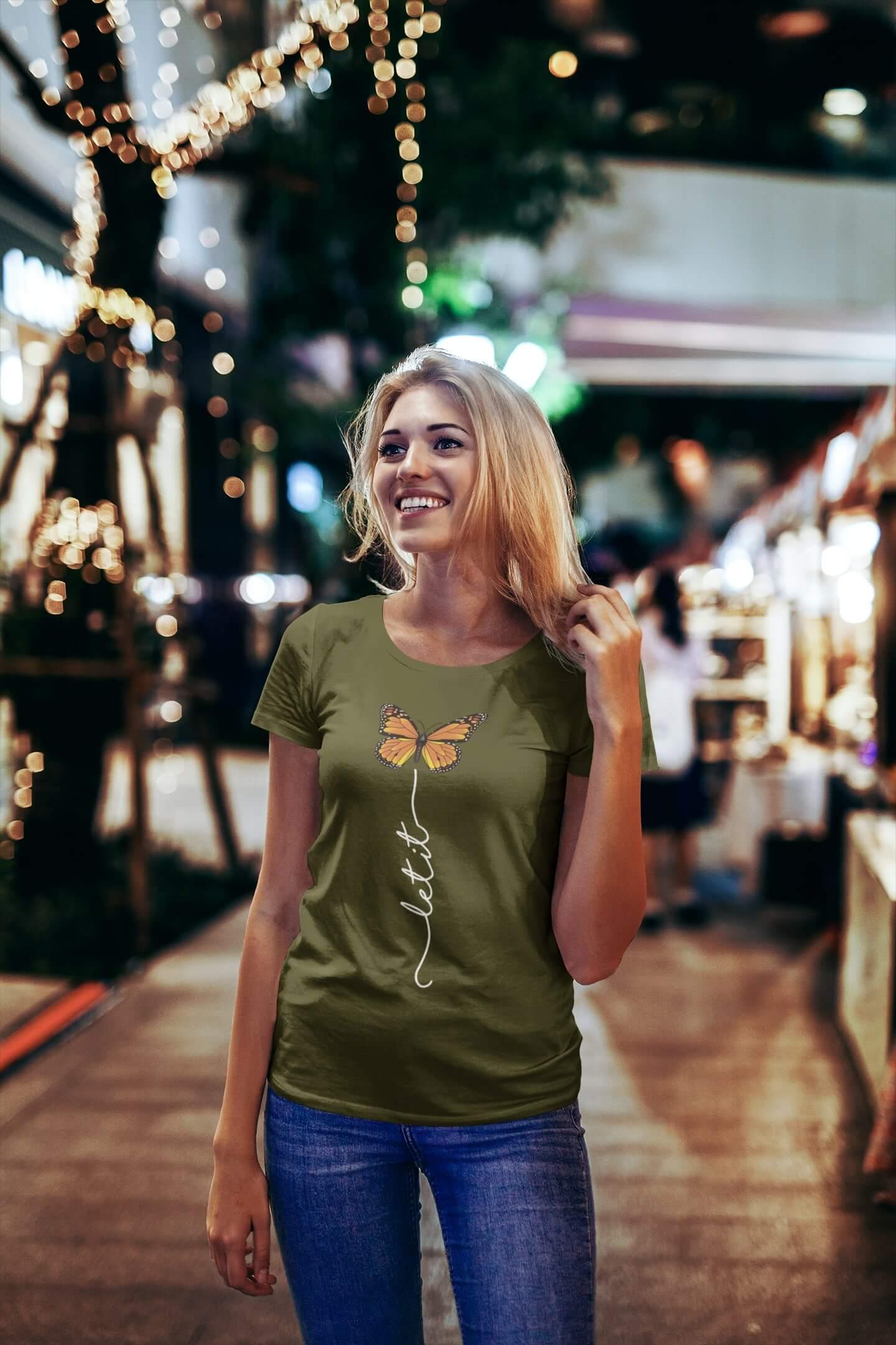 MMO Dámske tričko Let it motýľ Vyberte farbu: Khaki, Vyberte veľkosť: S