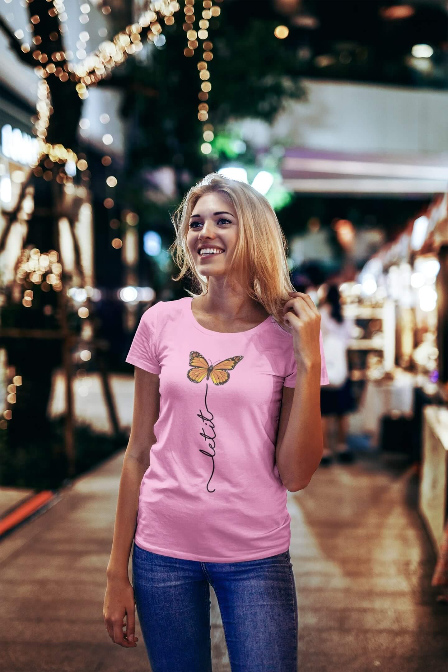 MMO Dámske tričko Let it motýľ Vyberte farbu: Ružová, Vyberte veľkosť: S