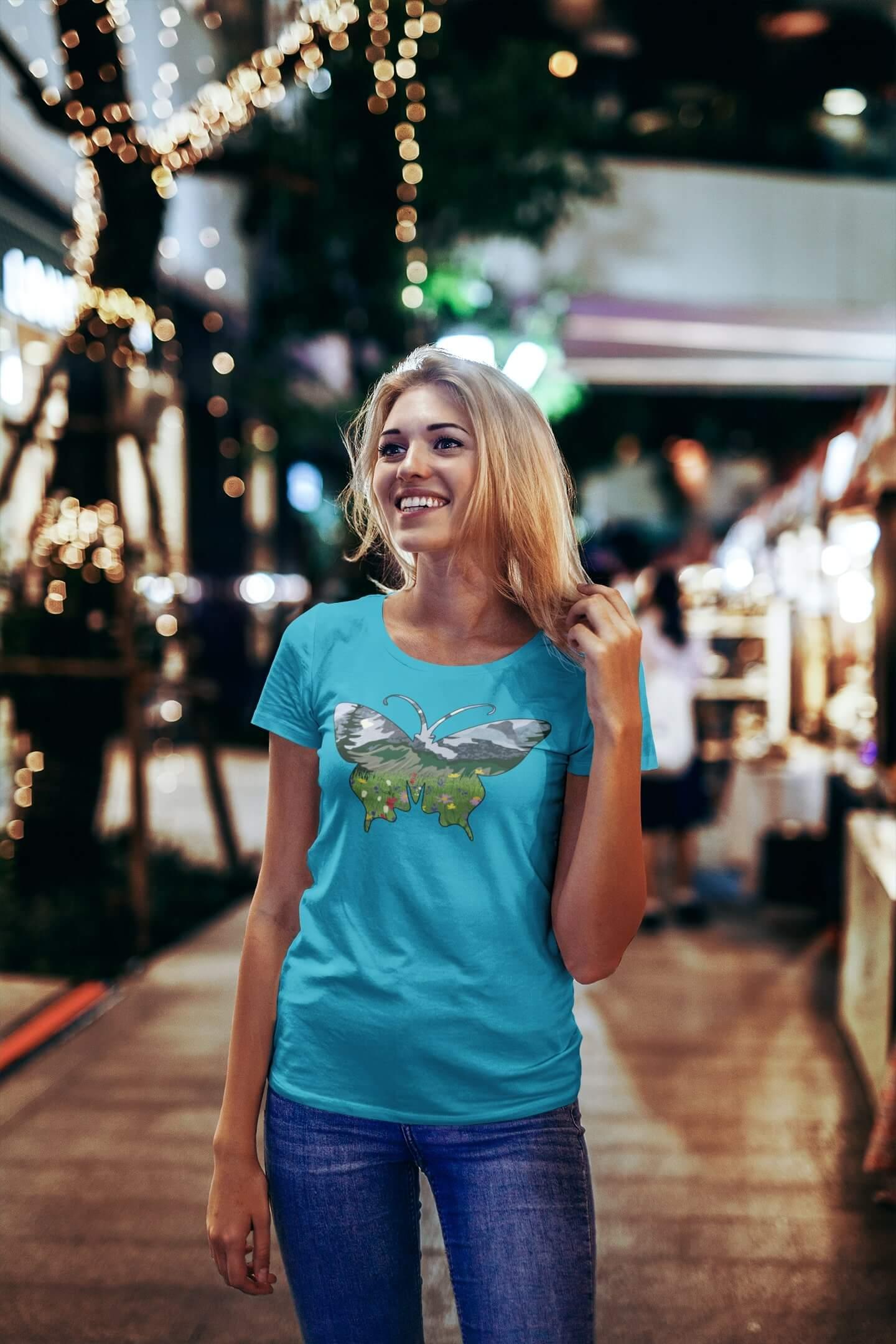 MMO Dámske tričko Motýľ Vyberte farbu: Tyrkysová, Vyberte veľkosť: S