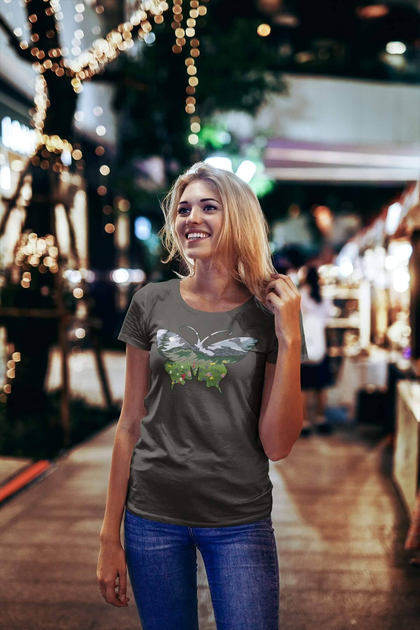 MMO Dámske tričko Motýľ Vyberte farbu: Tmavá bridlica, Vyberte veľkosť: S