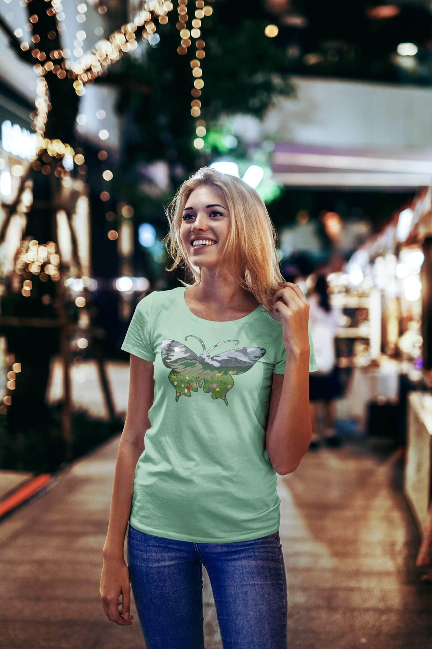 MMO Dámske tričko Motýľ Vyberte farbu: Mätová, Vyberte veľkosť: S