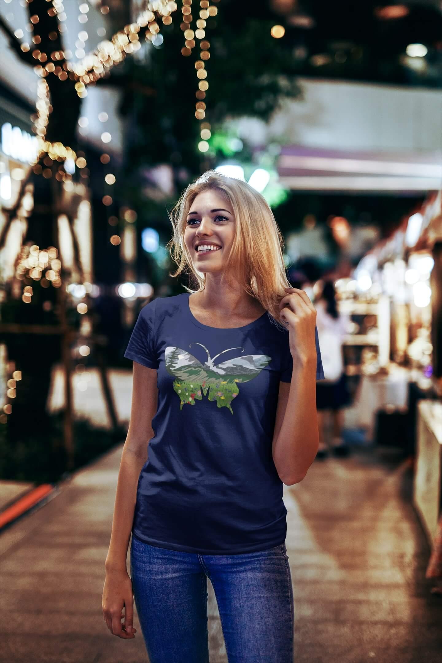 MMO Dámske tričko Motýľ Vyberte farbu: Polnočná modrá, Vyberte veľkosť: S