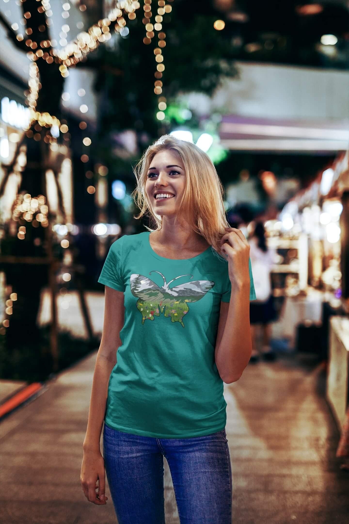 MMO Dámske tričko Motýľ Vyberte farbu: Smaragdovozelená, Vyberte veľkosť: S