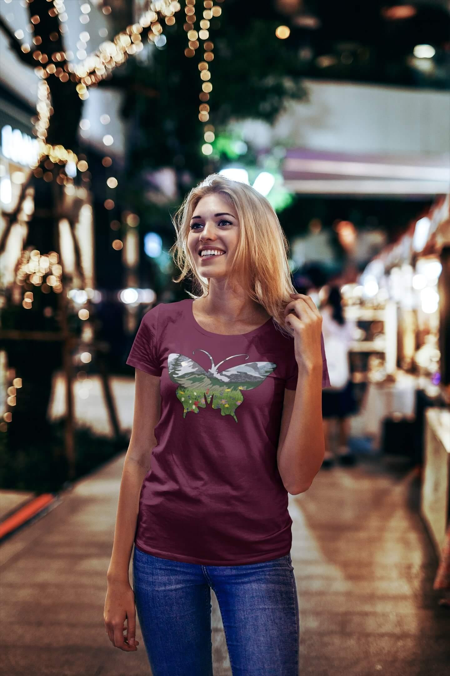 MMO Dámske tričko Motýľ Vyberte farbu: Fuchsiová, Vyberte veľkosť: S