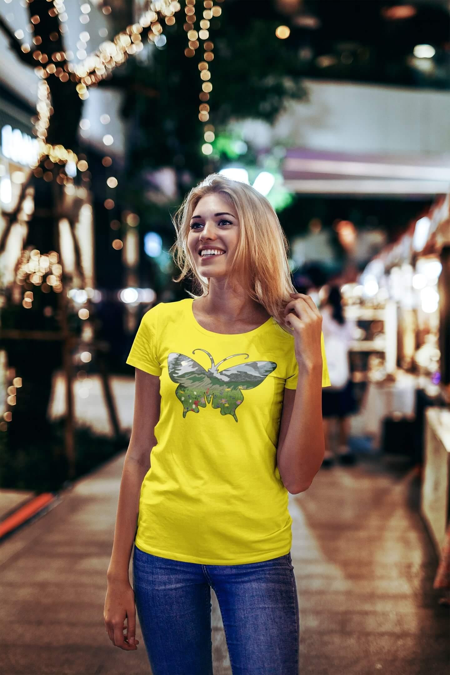 MMO Dámske tričko Motýľ Vyberte farbu: Citrónová, Vyberte veľkosť: S