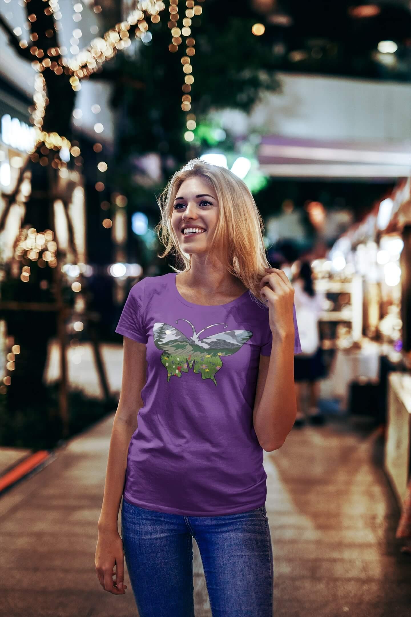 MMO Dámske tričko Motýľ Vyberte farbu: Fialová, Vyberte veľkosť: S