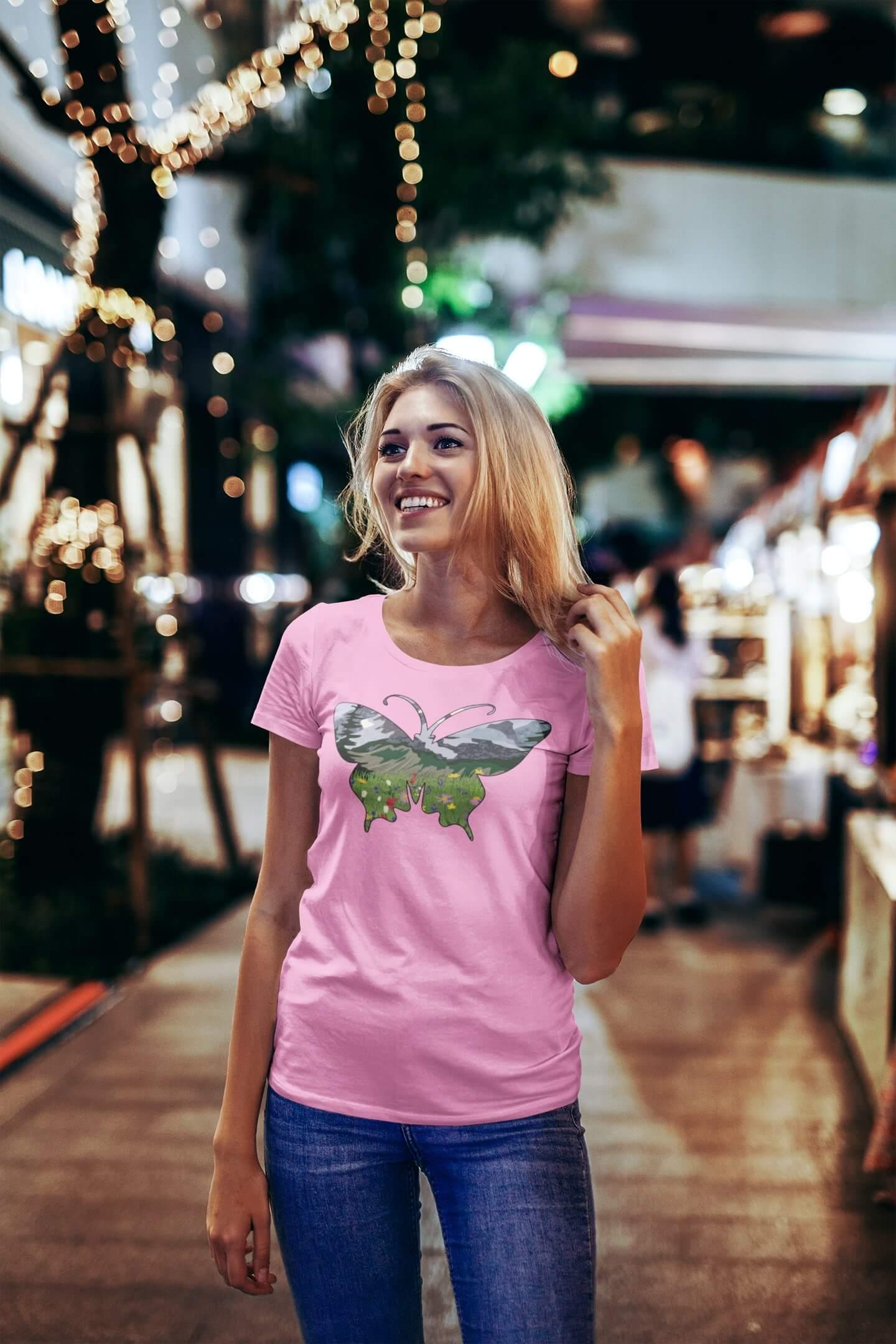 MMO Dámske tričko Motýľ Vyberte farbu: Ružová, Dámska veľkosť: S