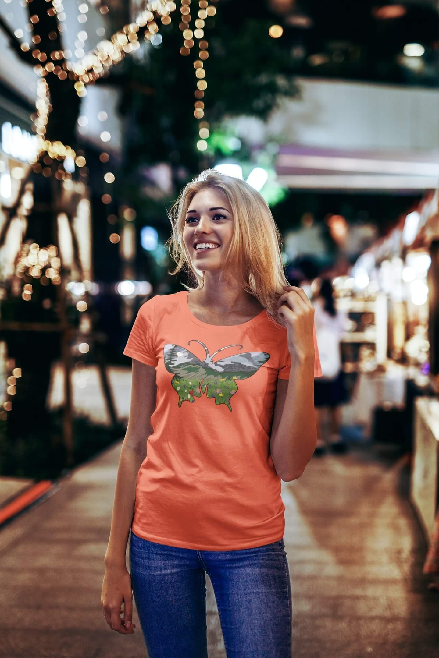 MMO Dámske tričko Motýľ Vyberte farbu: Korálová, Vyberte veľkosť: S