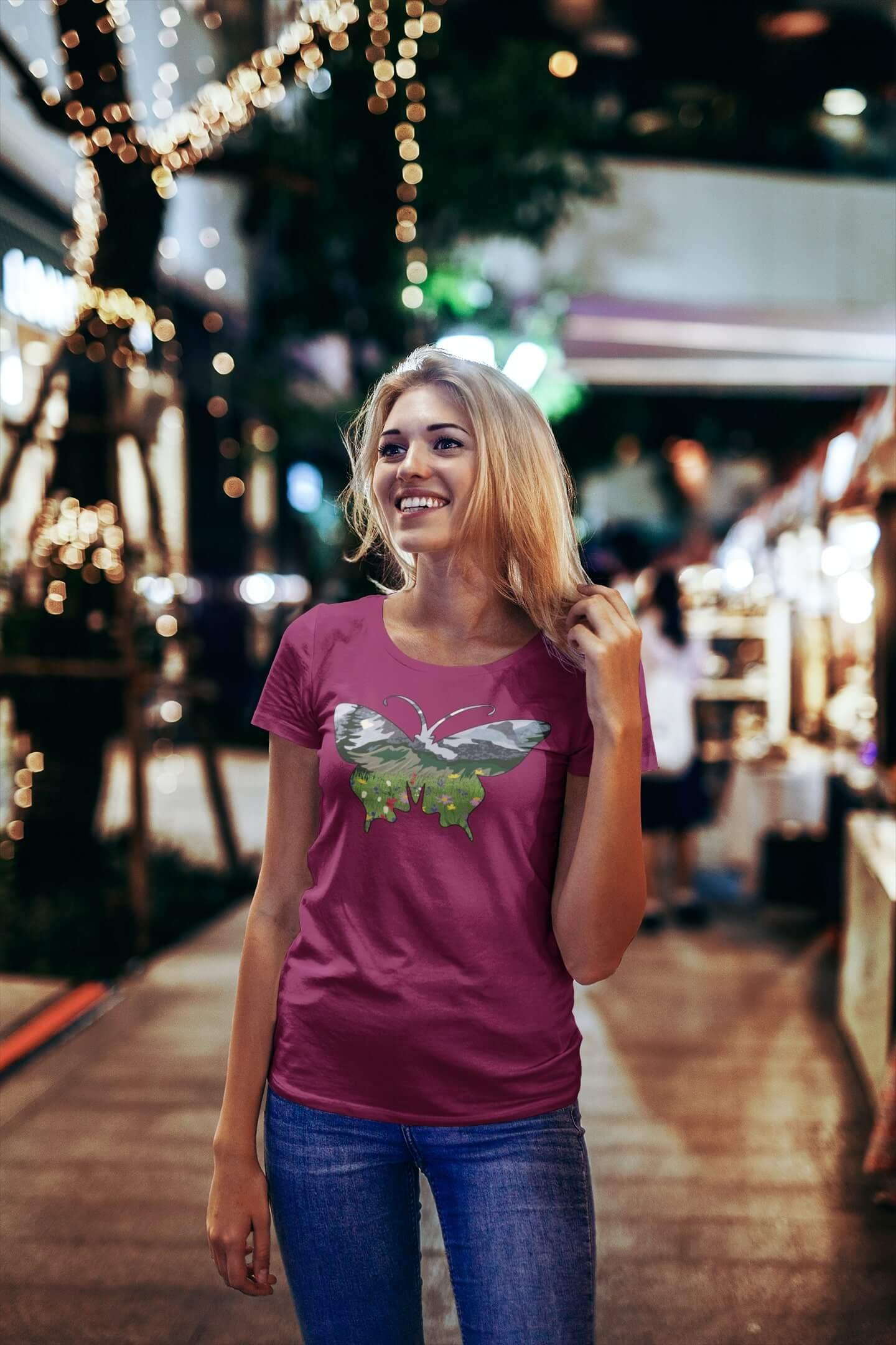 MMO Dámske tričko Motýľ Vyberte farbu: Fuchsiovo červená, Vyberte veľkosť: S